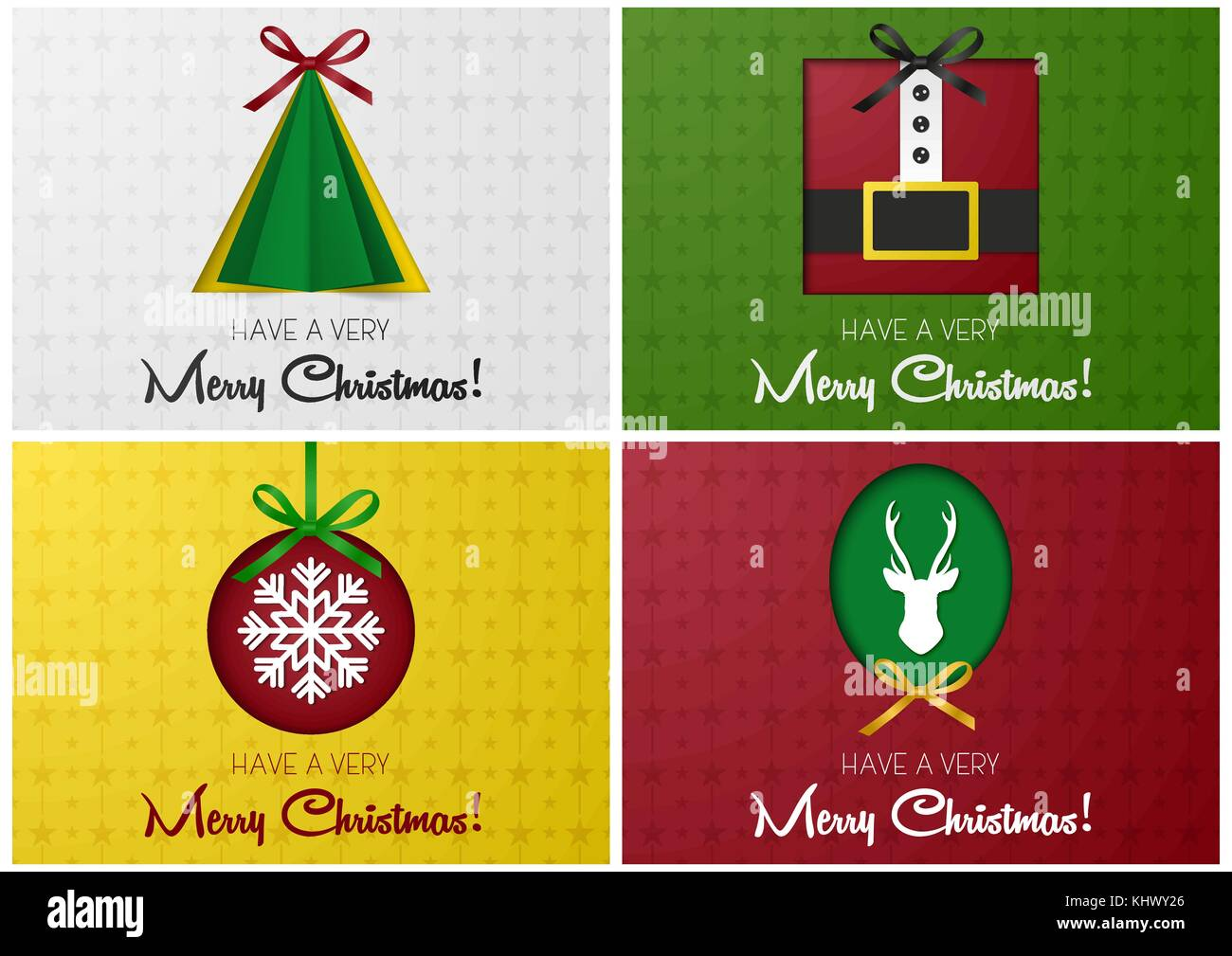 Merry Christmas greeting card or banner set with tree, santa, deer ...