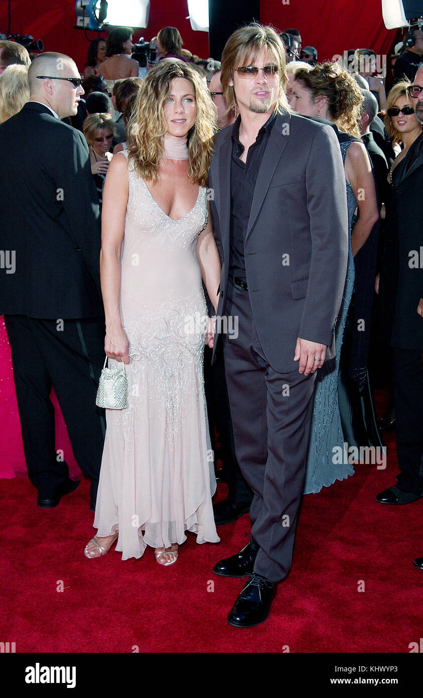 Jennifer Aniston and husband Brad Pitt arriving at the 54th