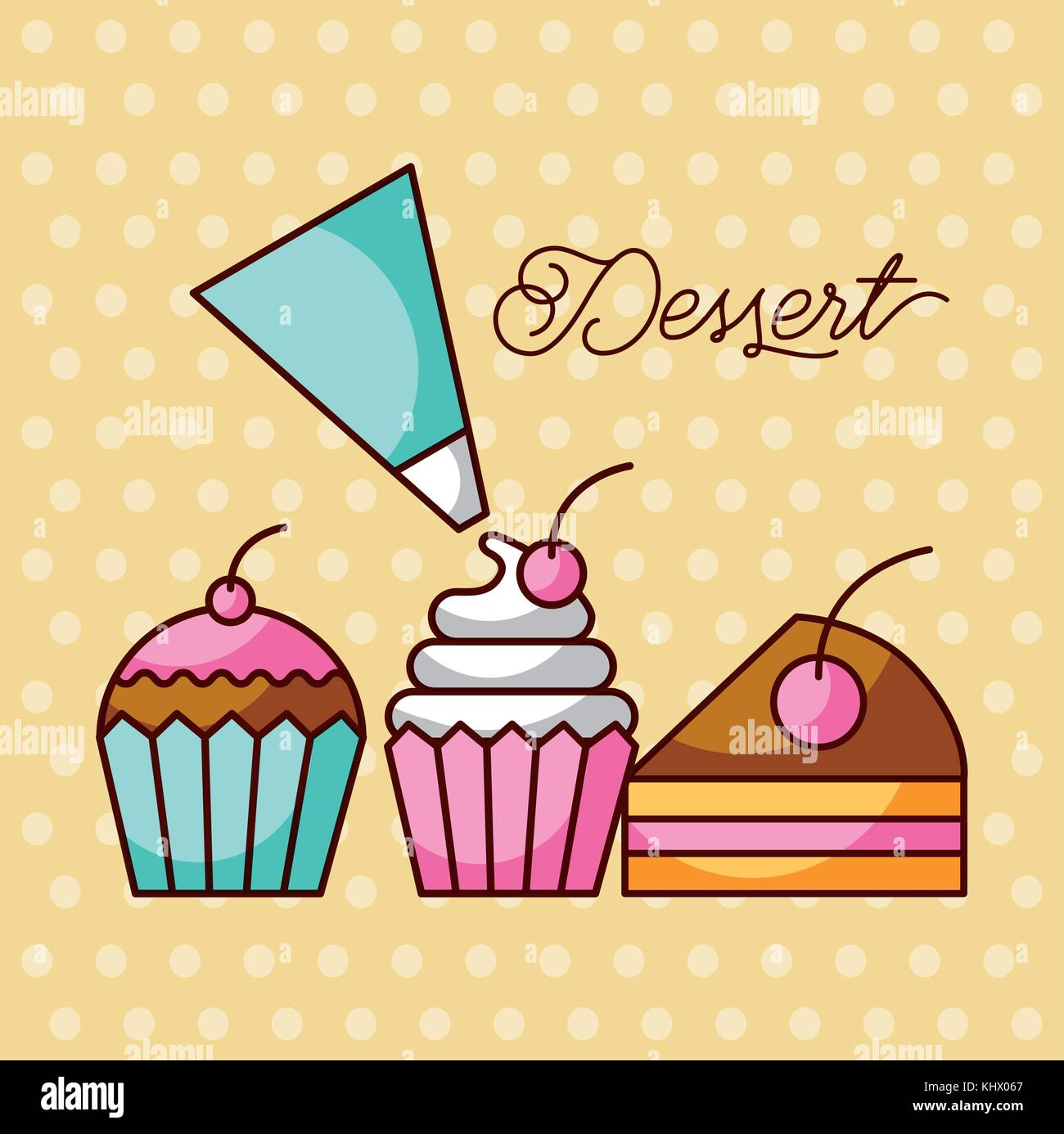 dessert sweet cupcakes and slice cake berry with icing cream bag - Stock Vector