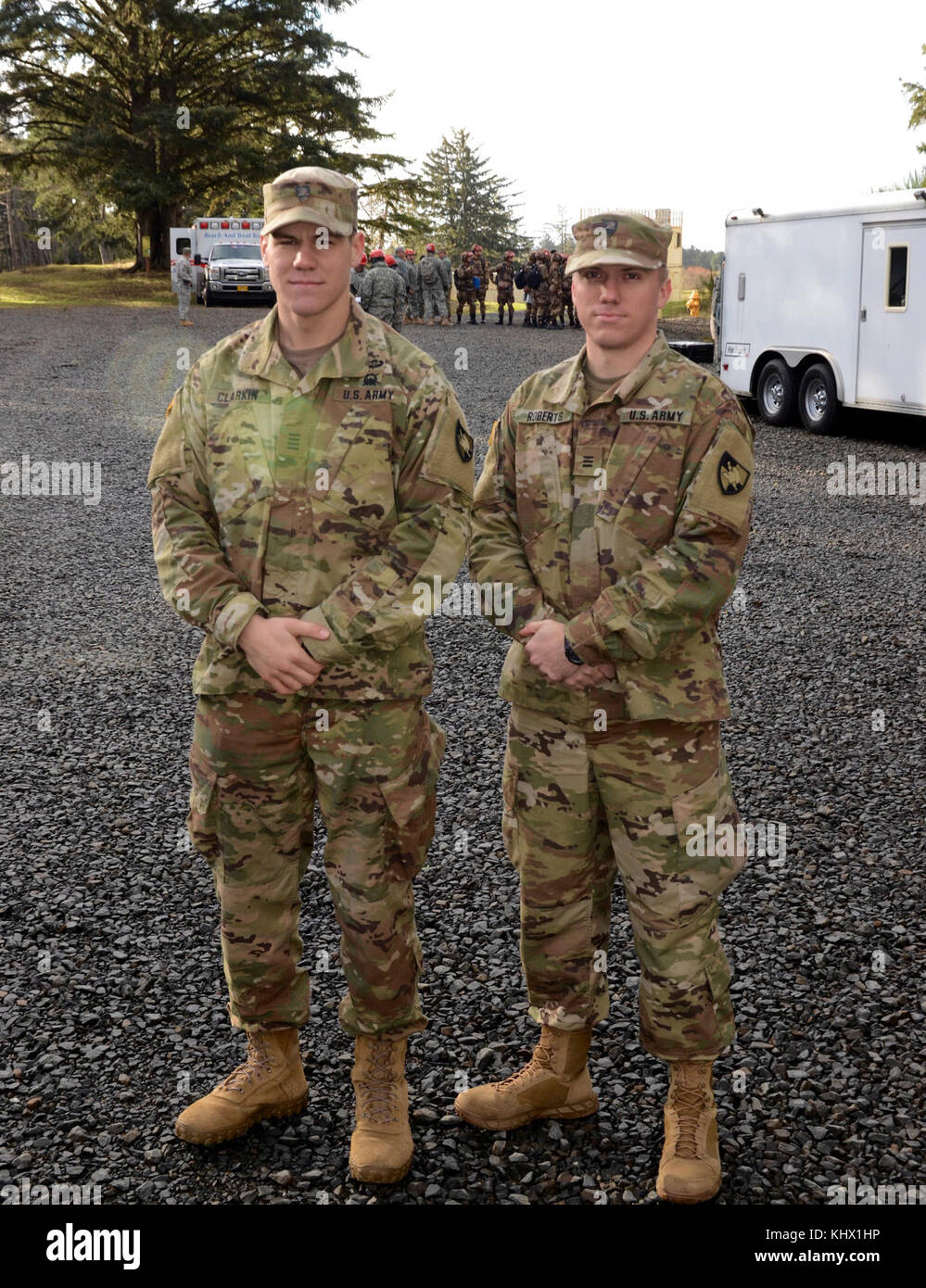 West Point Cadets Christopher Clarkin (left) and Jacob Roberts, Chinese language majors, participate in the 13th - Stock Image