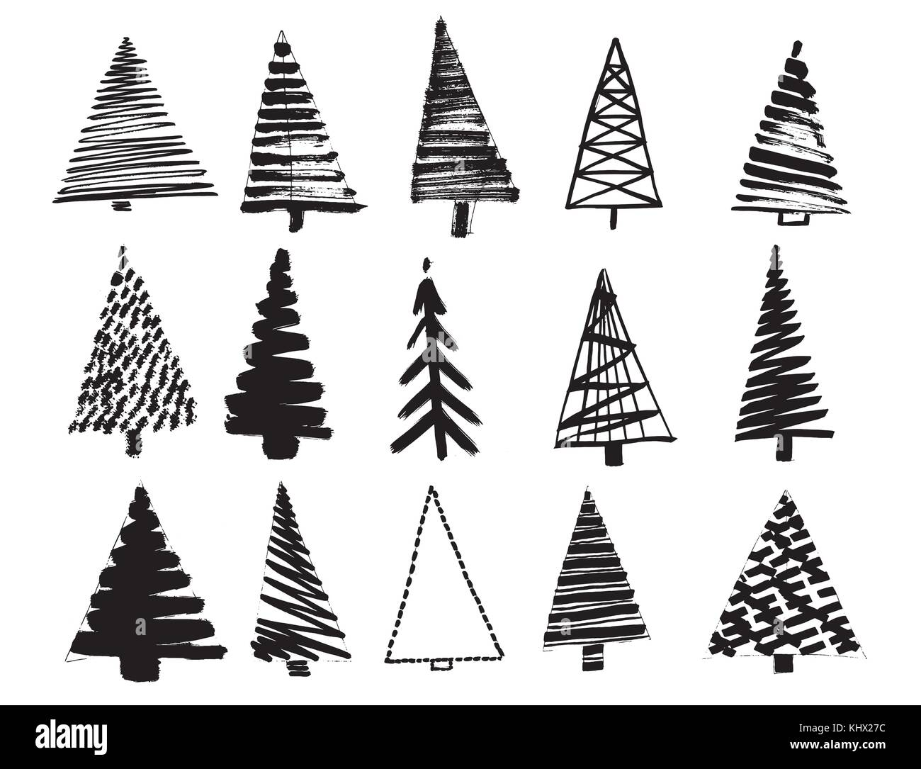 Christmas Tree Sketch Set Isolated On White Background Vector Stock