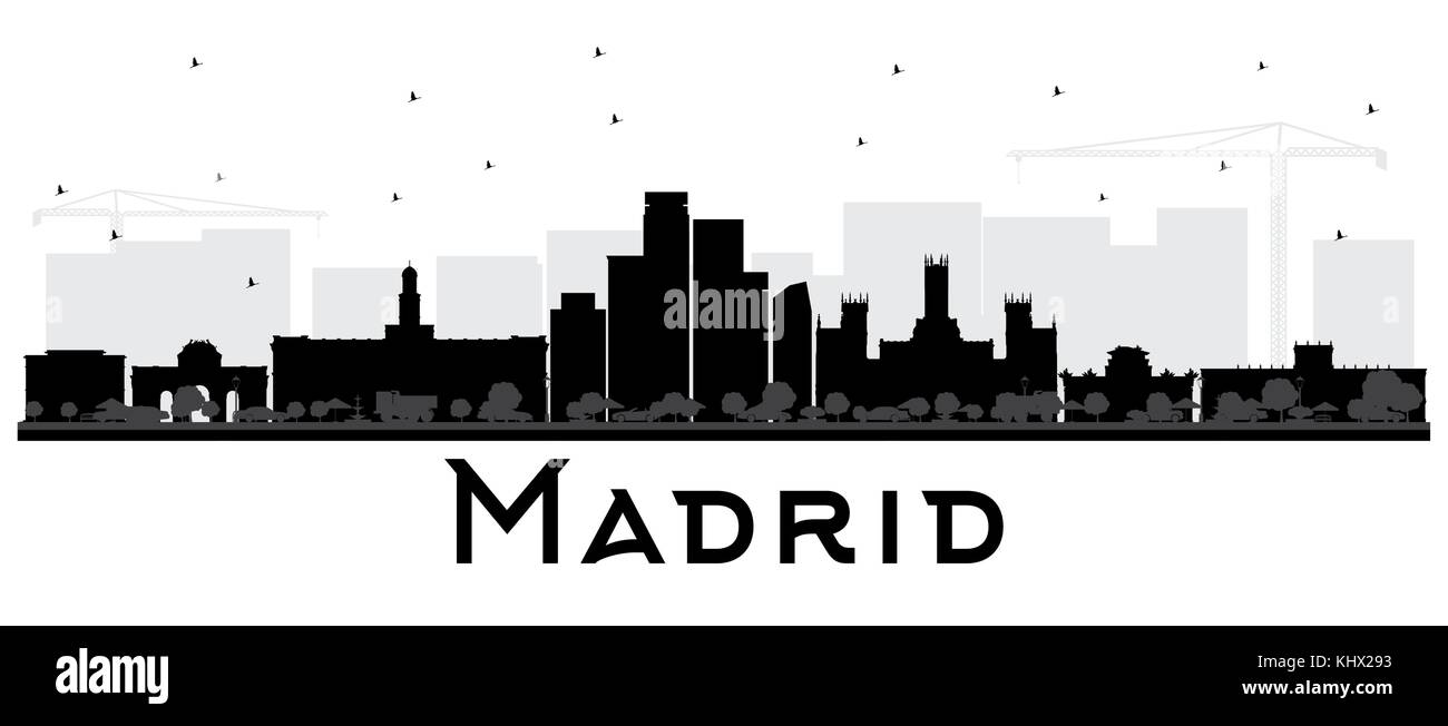 Black And White Madrid madrid spain skyline black and white silhouette. vector