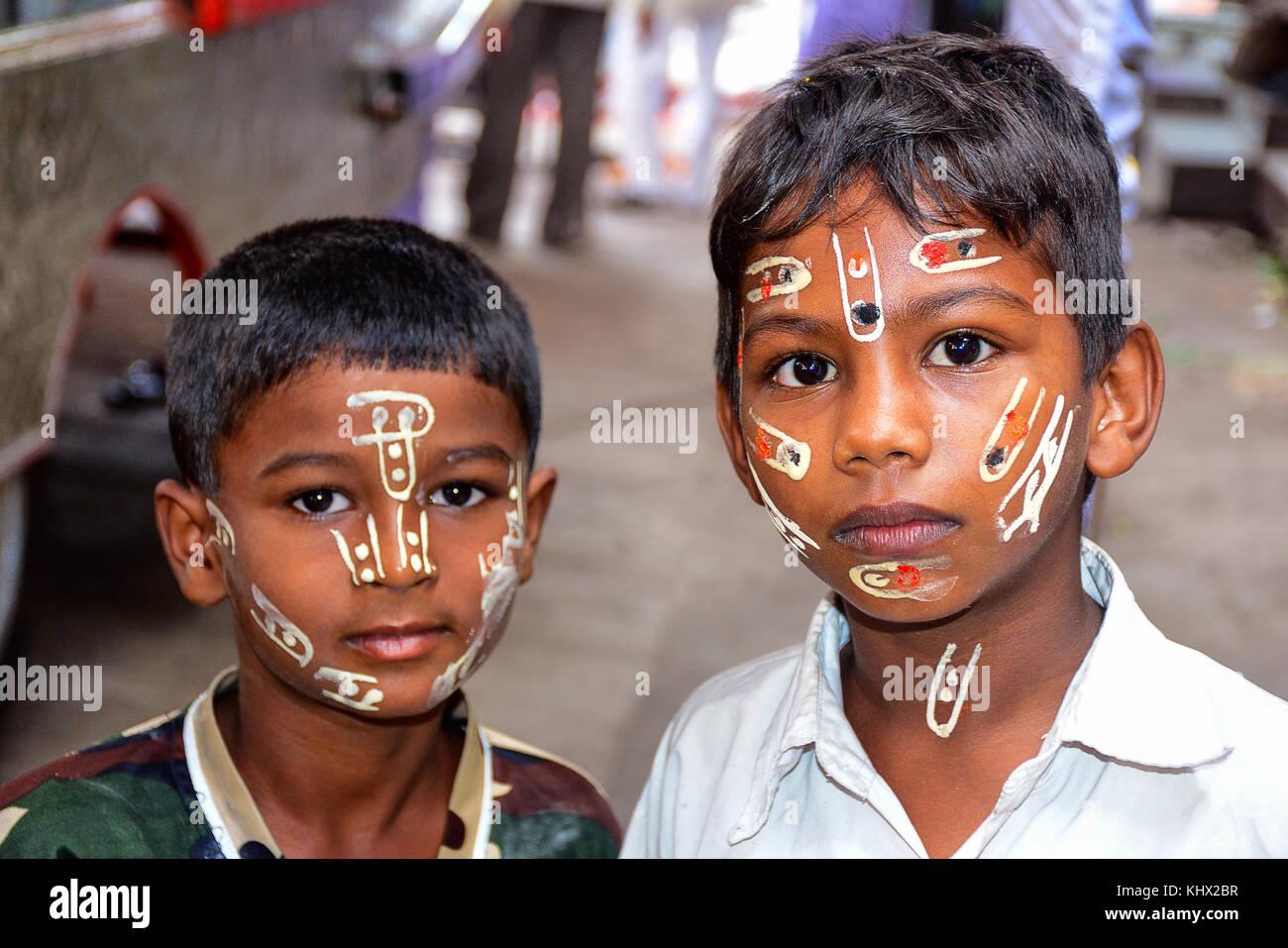 Boys with painted faces, Palki festival, Pune , Maharashtra, India - Stock Image