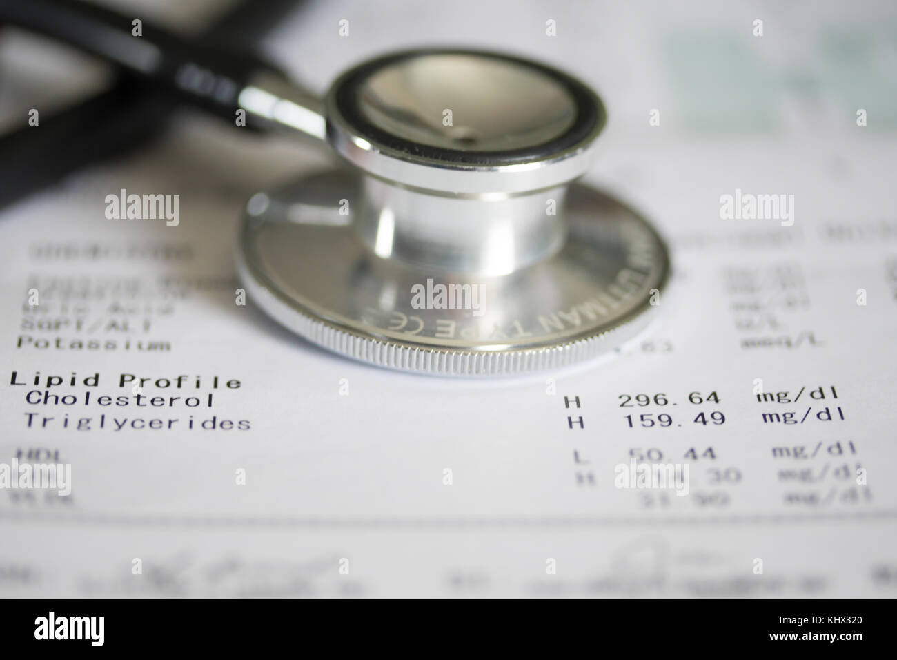 Concept Image of health featuring a printout with medical results relating to Cholesterol & Triglyceride levels. - Stock Image