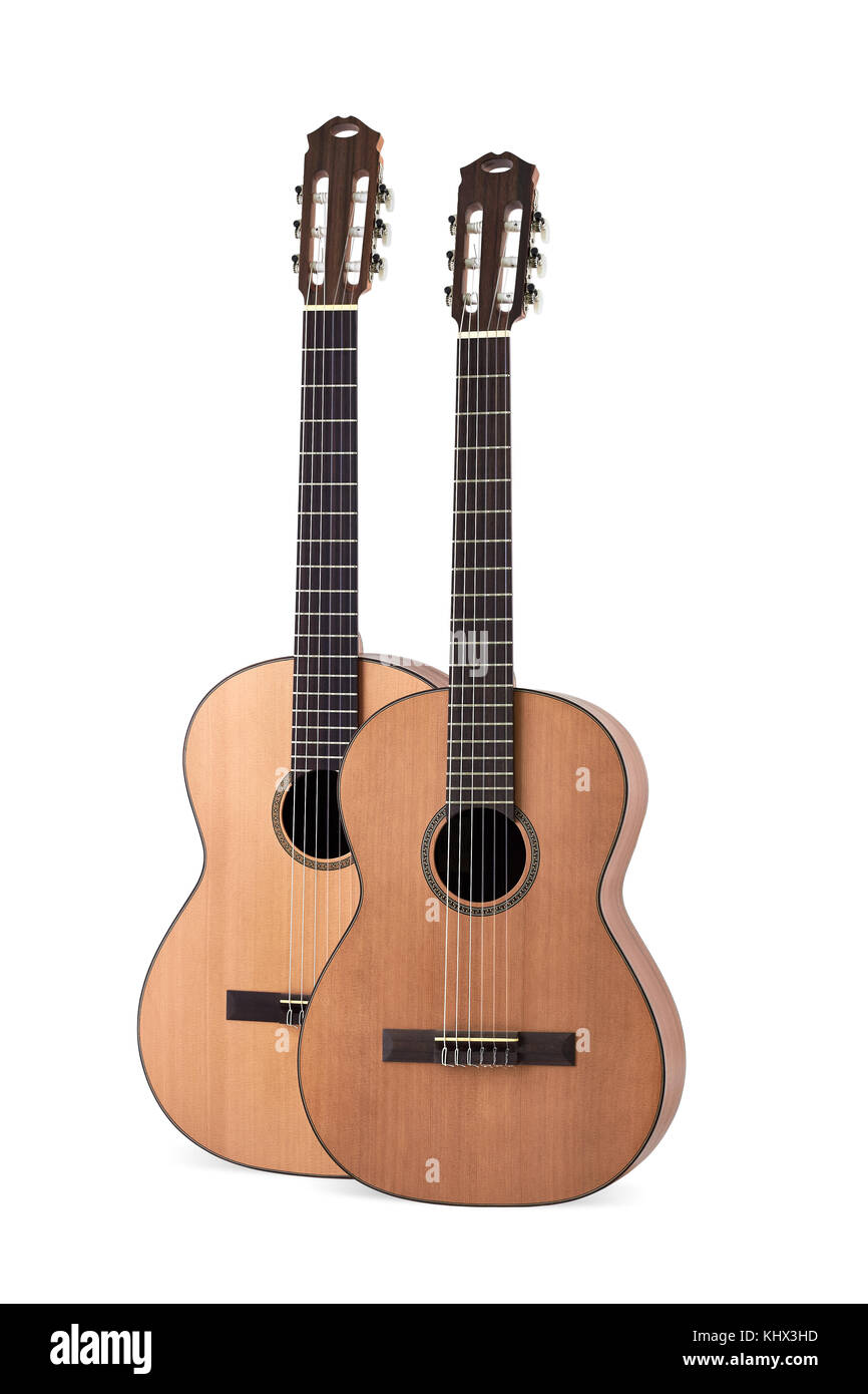 two acoustic guitar on white background - Stock Image