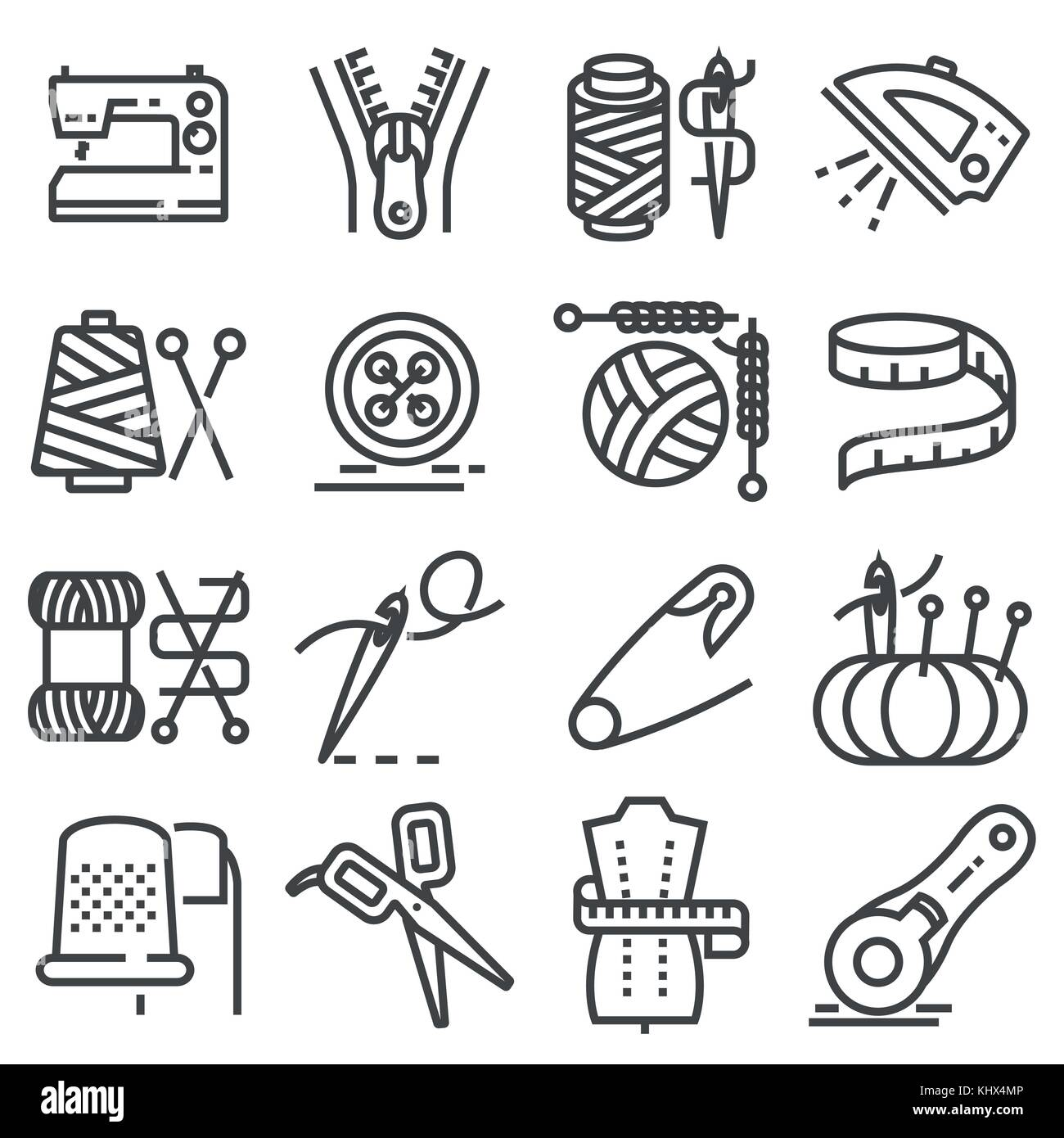 Simple set of sewing related vector line icons. Sewing Machine, Measuring Tape, Wool - Stock Vector