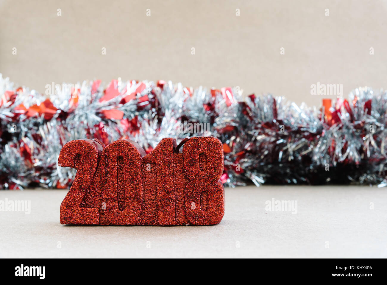 New Year Christmas decoration on rustic background. 2018 - Stock Image