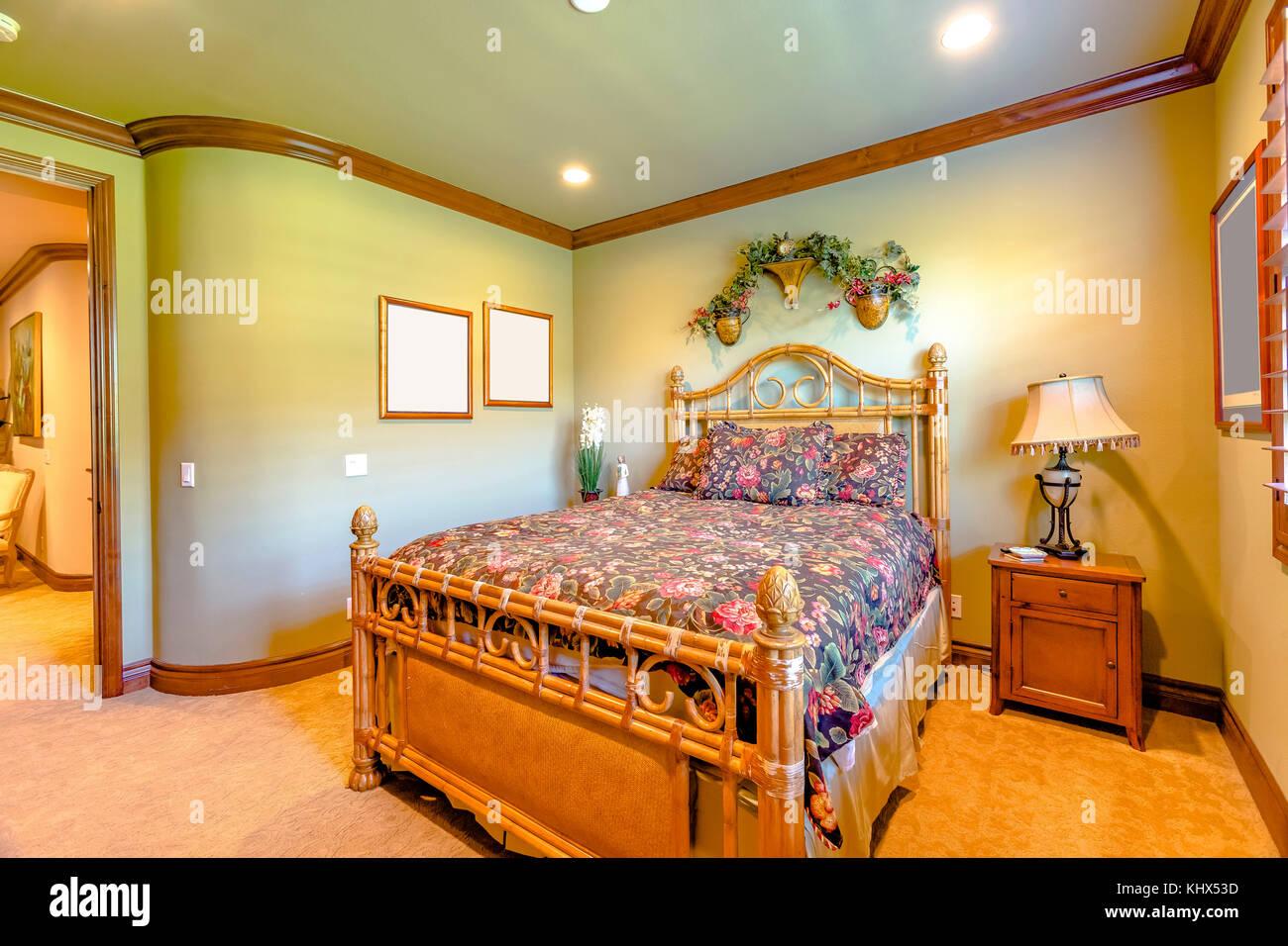 Luxury Bedroom In California With Orange Warm Lighting And Carpet