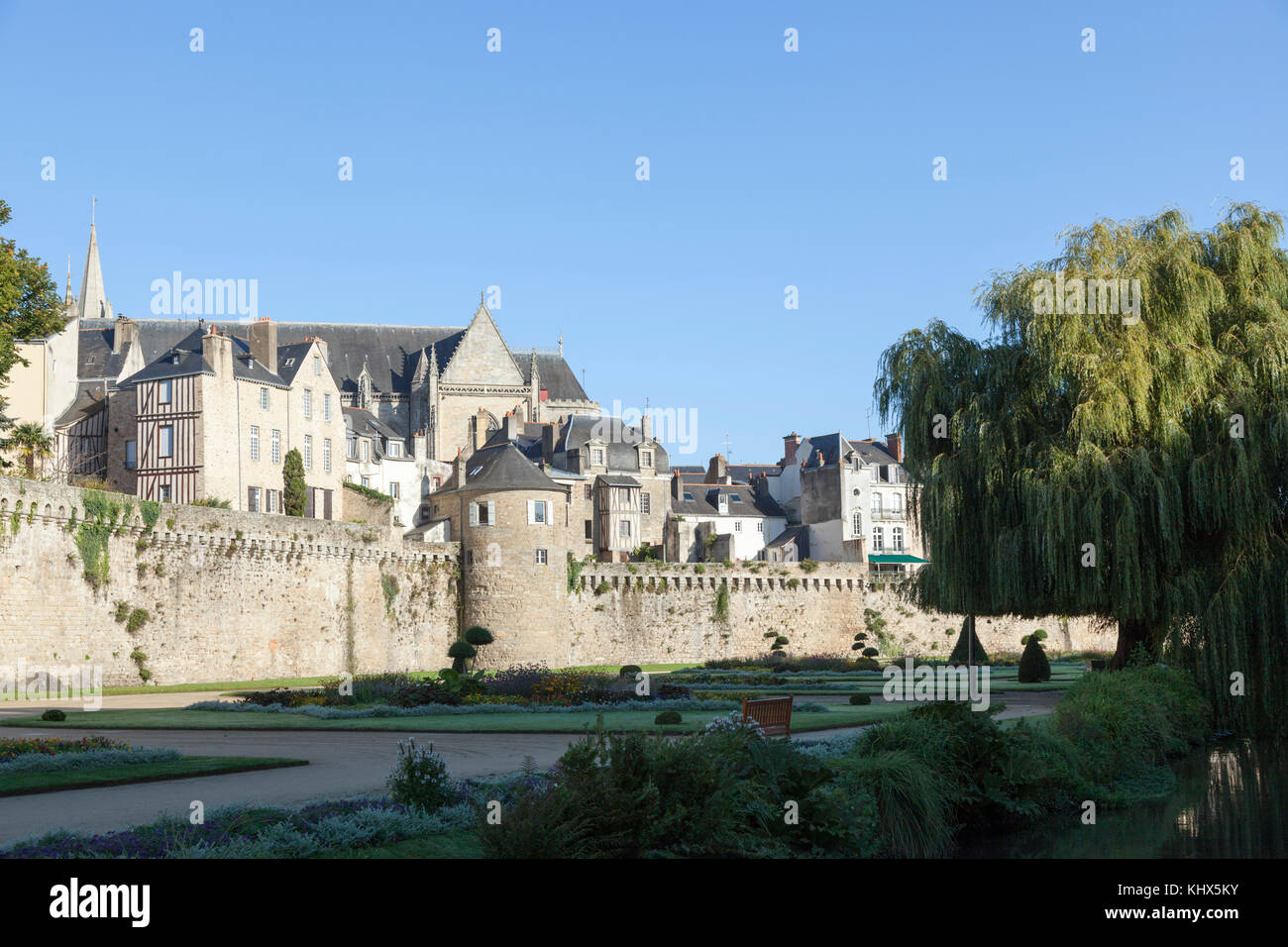The ramparts of Vannes at drawing level with the Powder magazine tower (Brittany - France). - Stock Image