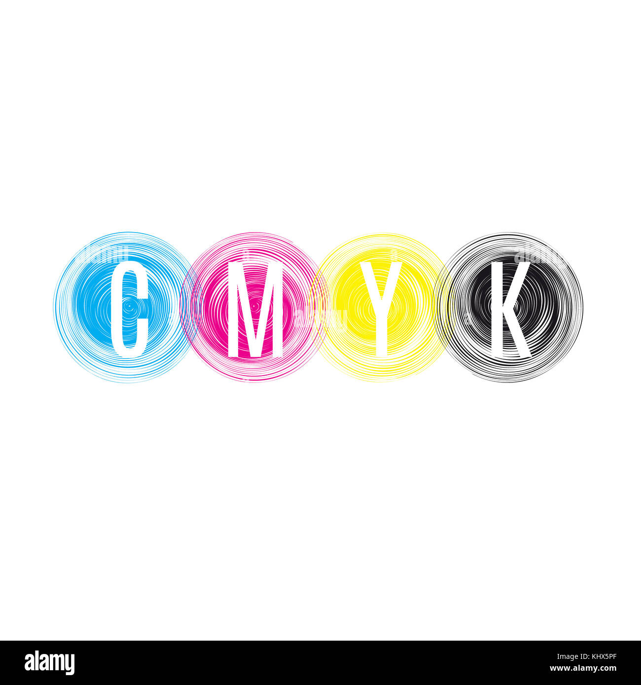 CMYK print abstract circles. Vector illustration. - Stock Image