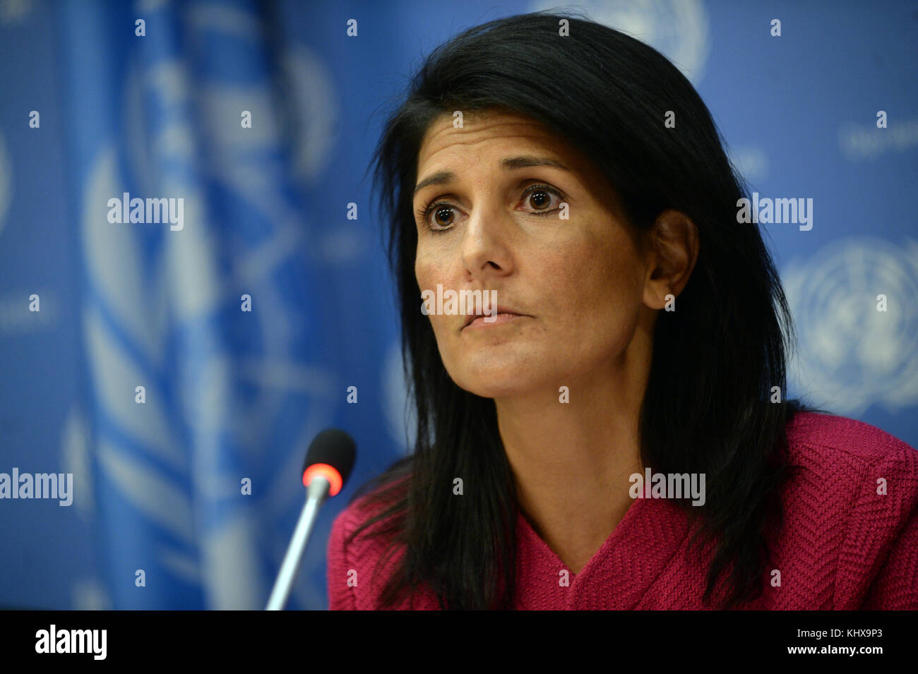 NEW YORK, NY - APRIL 3: U.S. Ambassador to the United Nation Nikki Haley answers questions during a press briefing - Stock Image