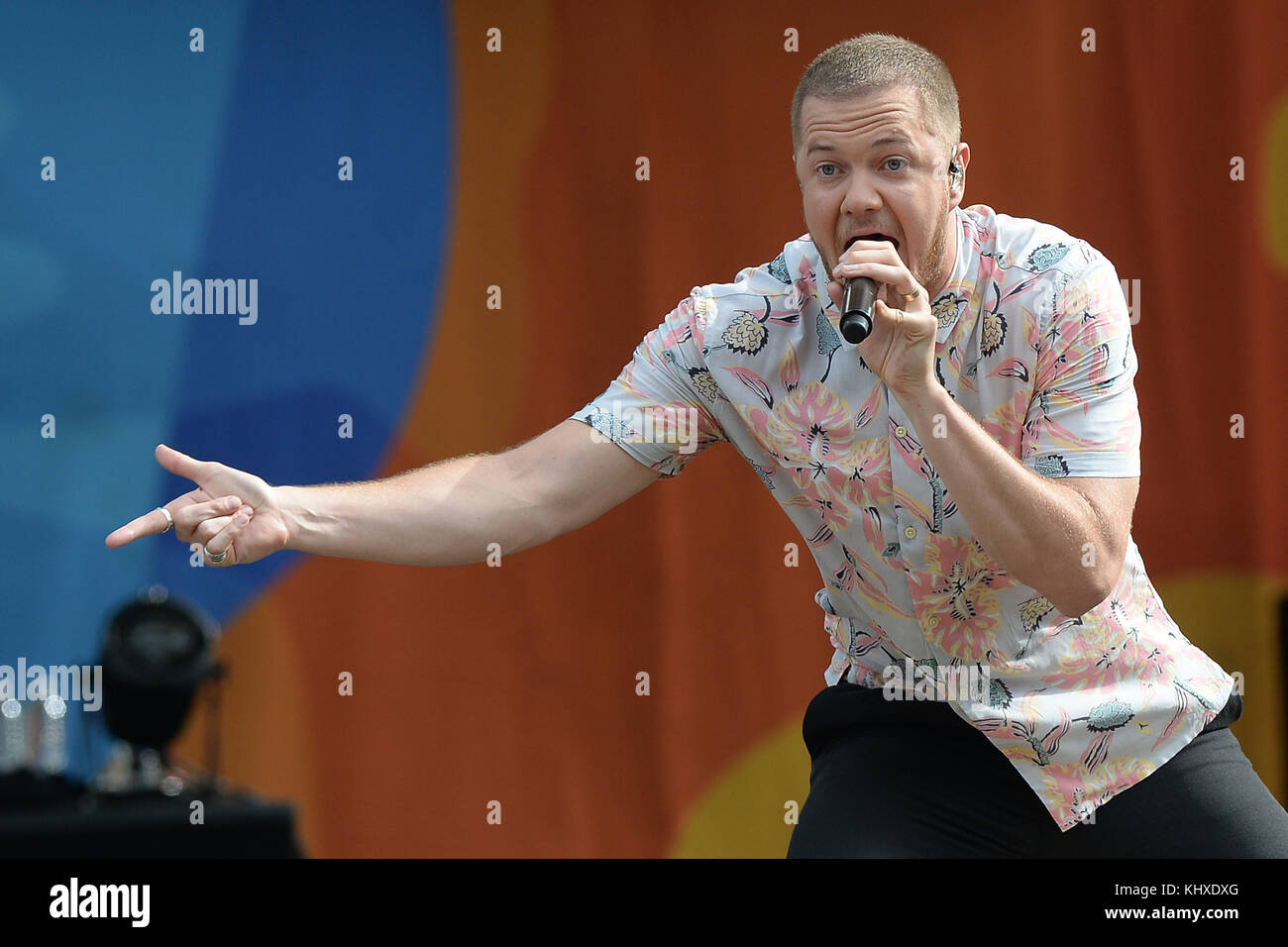 NEW YORK, NY - JULY 28: Lead singer Dan Reynolds and his band Imagine Dragons perform on ABC's 'Good Morning - Stock Image