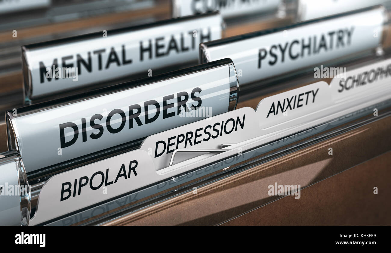 Mental health concept. File with a list of psychiatric disorders. 3D illustration - Stock Image