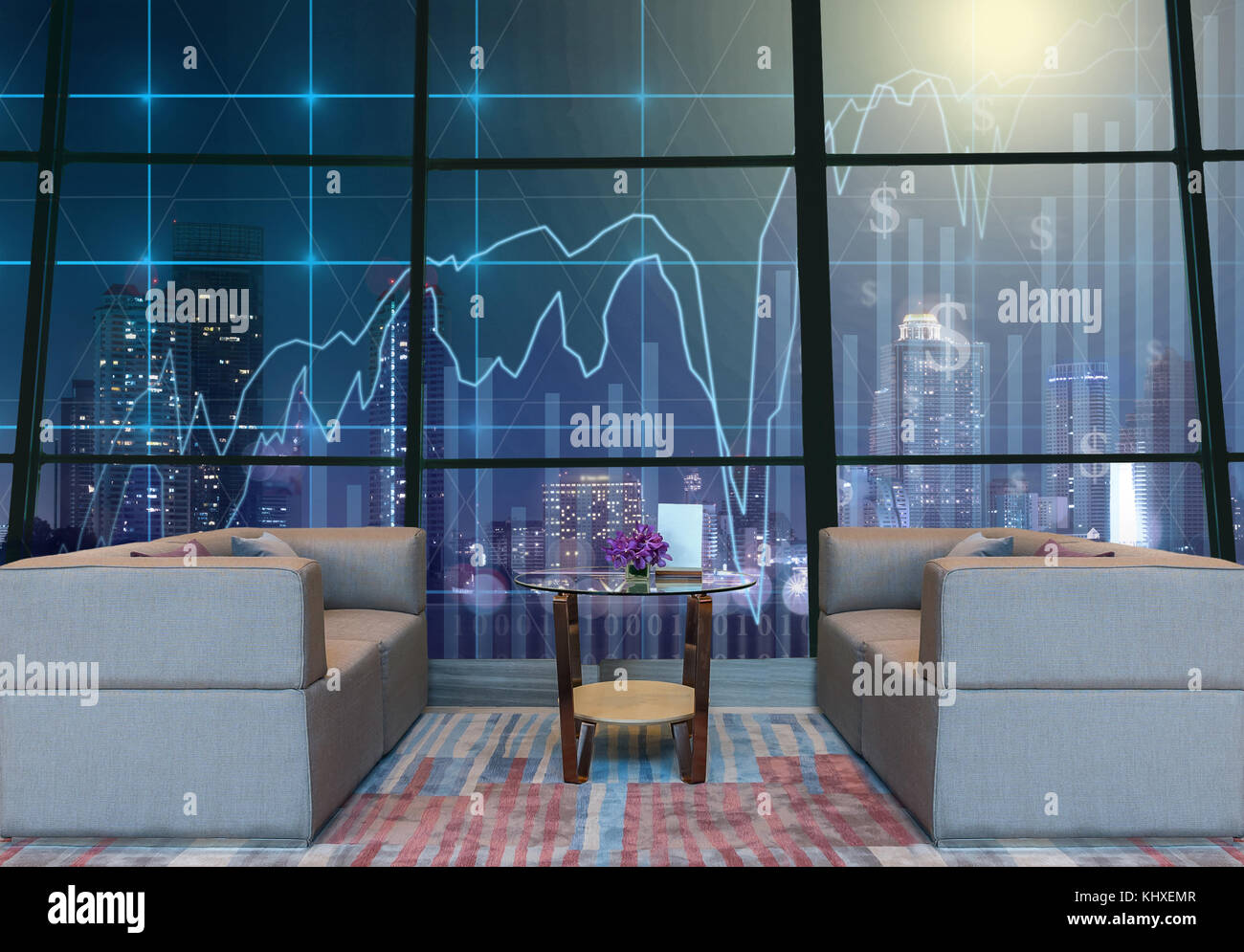 Lobby area of a hotel which can see Trading graph on the cityscape at night background,Business financial concept - Stock Image
