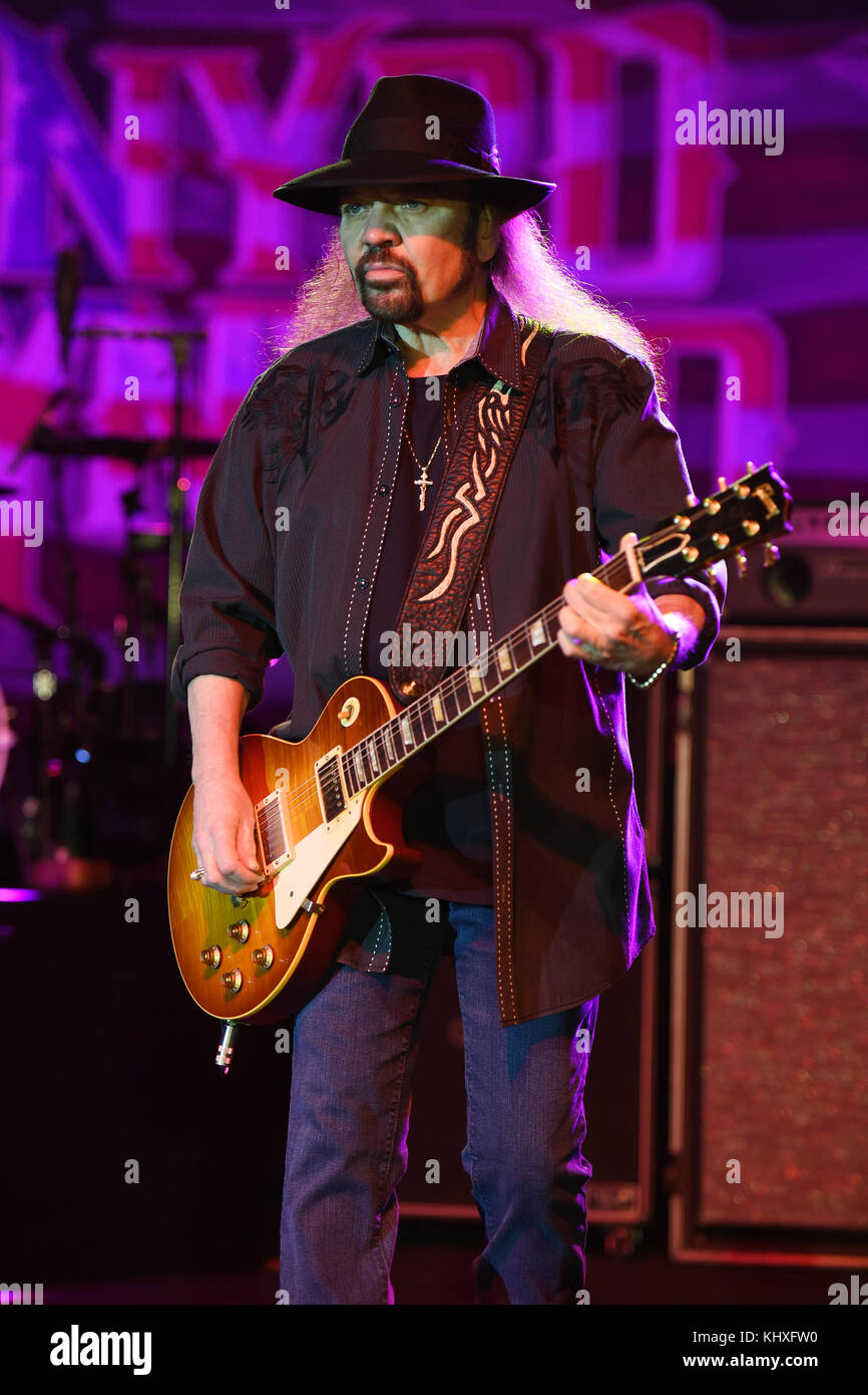 POMPANO BEACH FL - FEBRUARY 10: Gary Rossington of Lynyrd Skynyrd performs at The Pompano Beach Amphitheater on Stock Photo