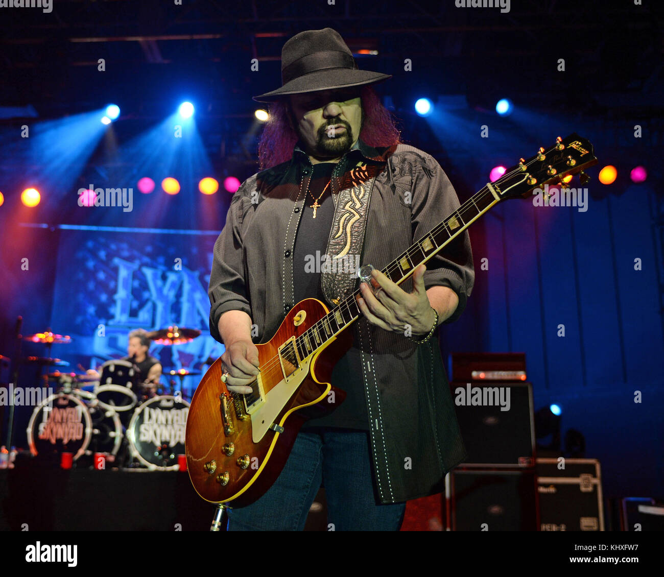 POMPANO BEACH FL - FEBRUARY 10: Gary Rossington of Lynyrd Skynyrd performs at The Pompano Beach Amphitheater on Stock Photo