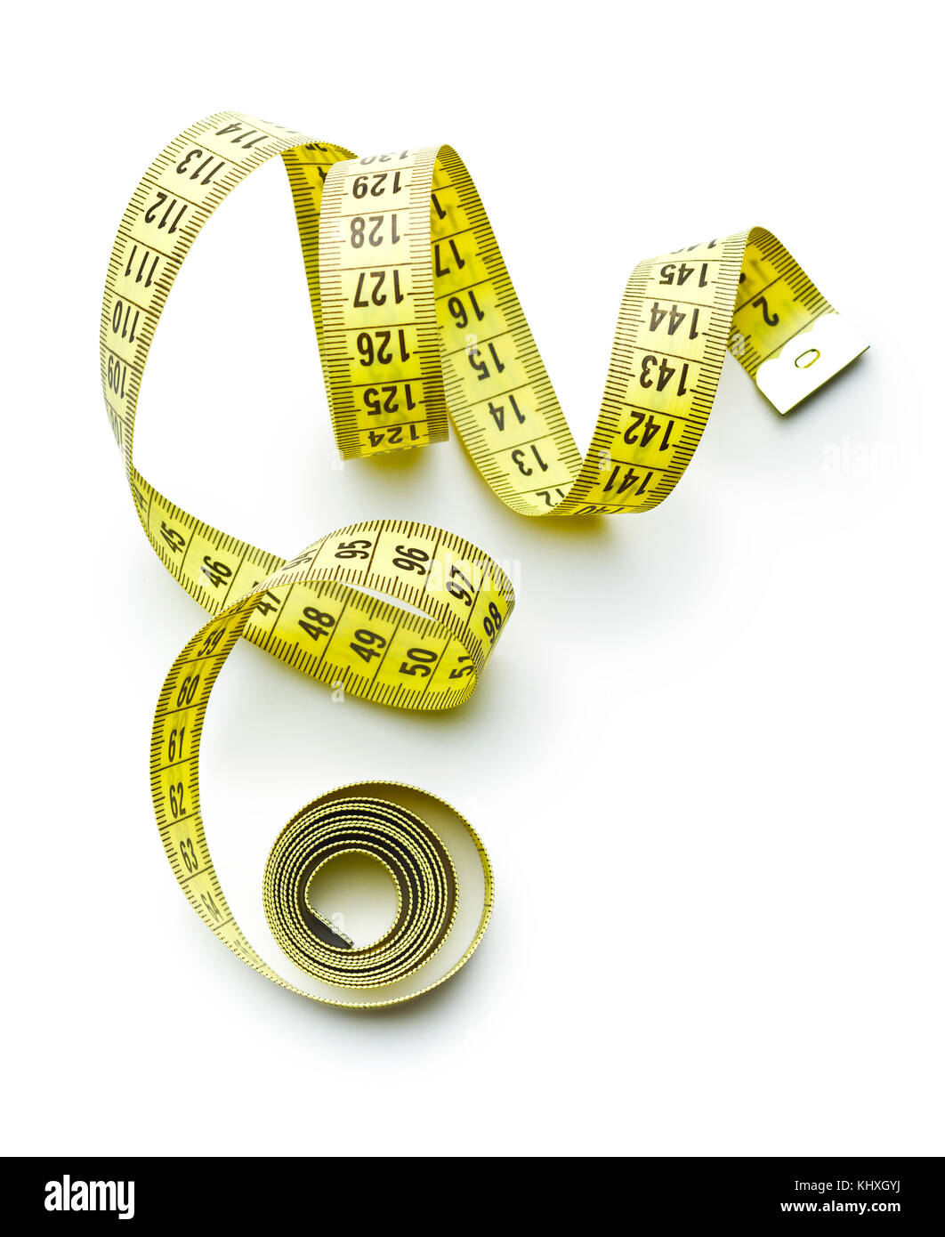 Measuring tape of the tailor isolated on white background. - Stock Image