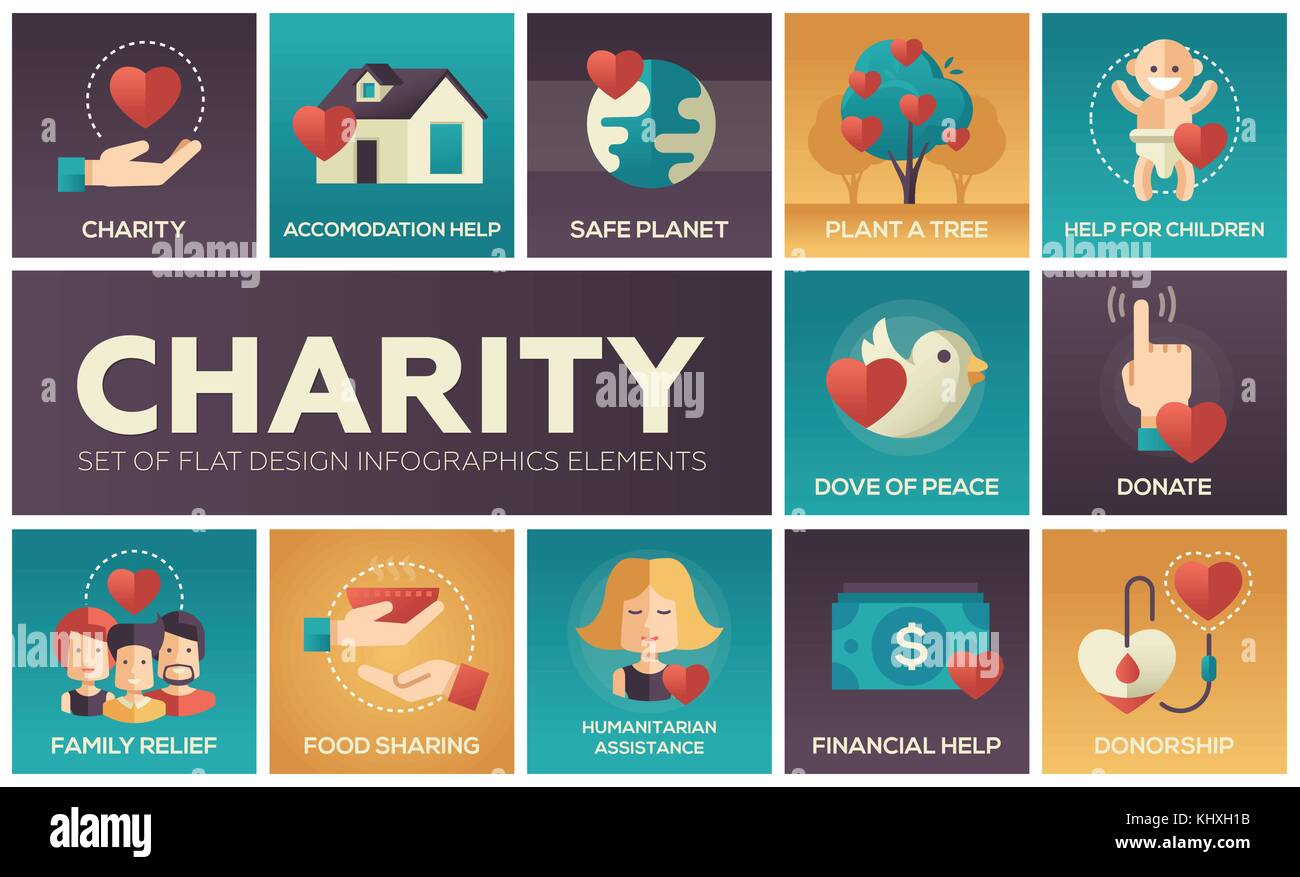 Charity - set of flat design infographics elements - Stock Image