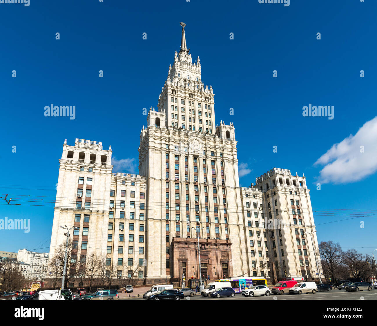 Moscow, Russia - April 04, 2016. Stalin skyscraper on square of Krasnie Vorota - Stock Image