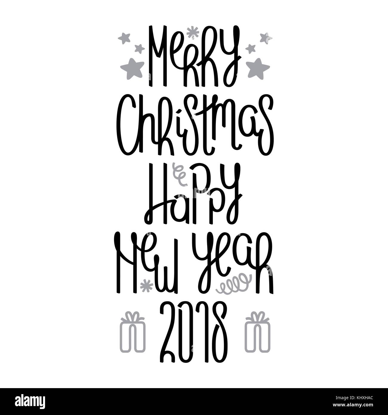 Merry Christmas and Happy New Year. Handwritten calligraphy composition. Vector design elements Stock Vector