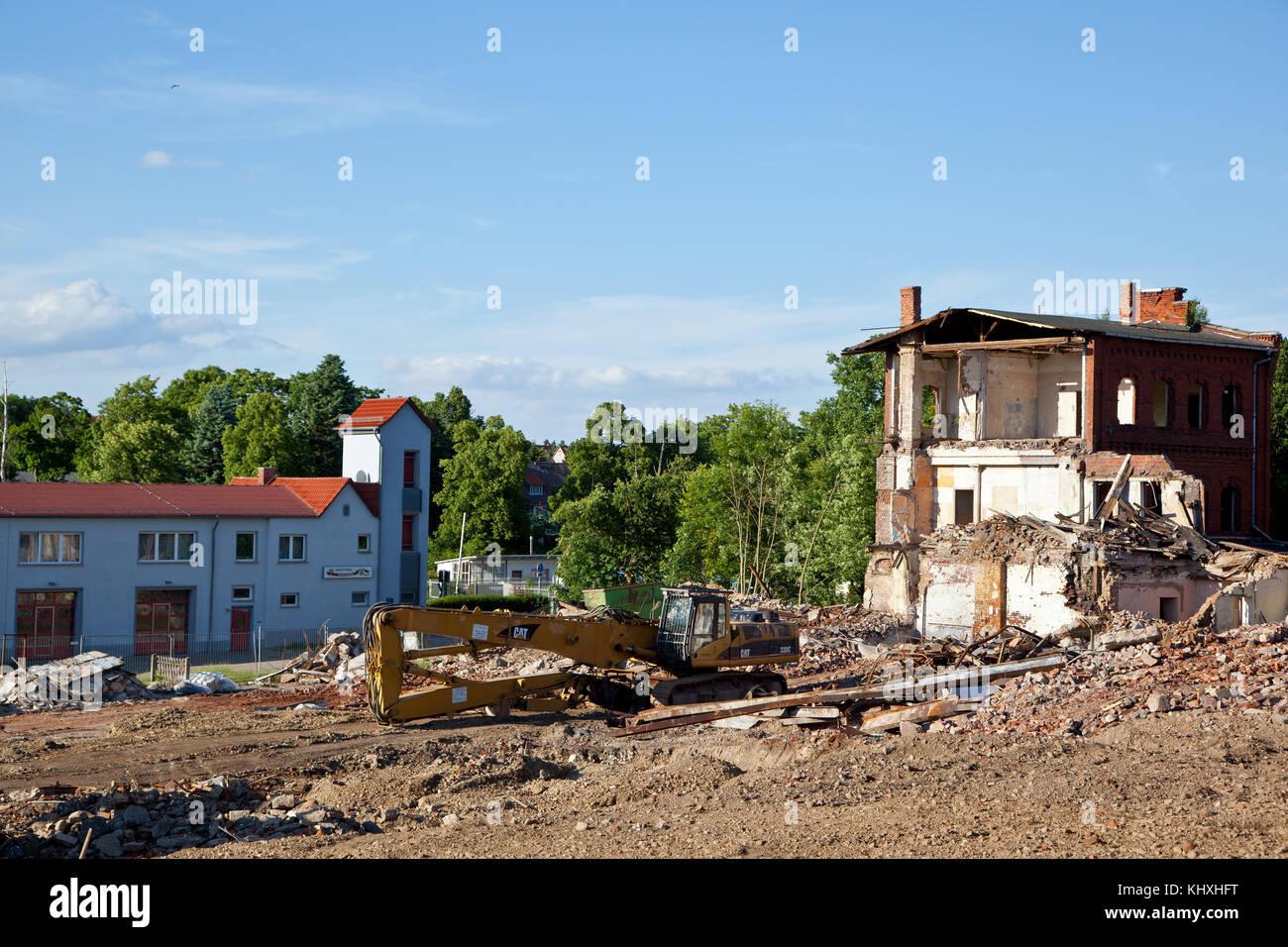 Baustelle Neubau Rewe in Harzgerode - Stock Image