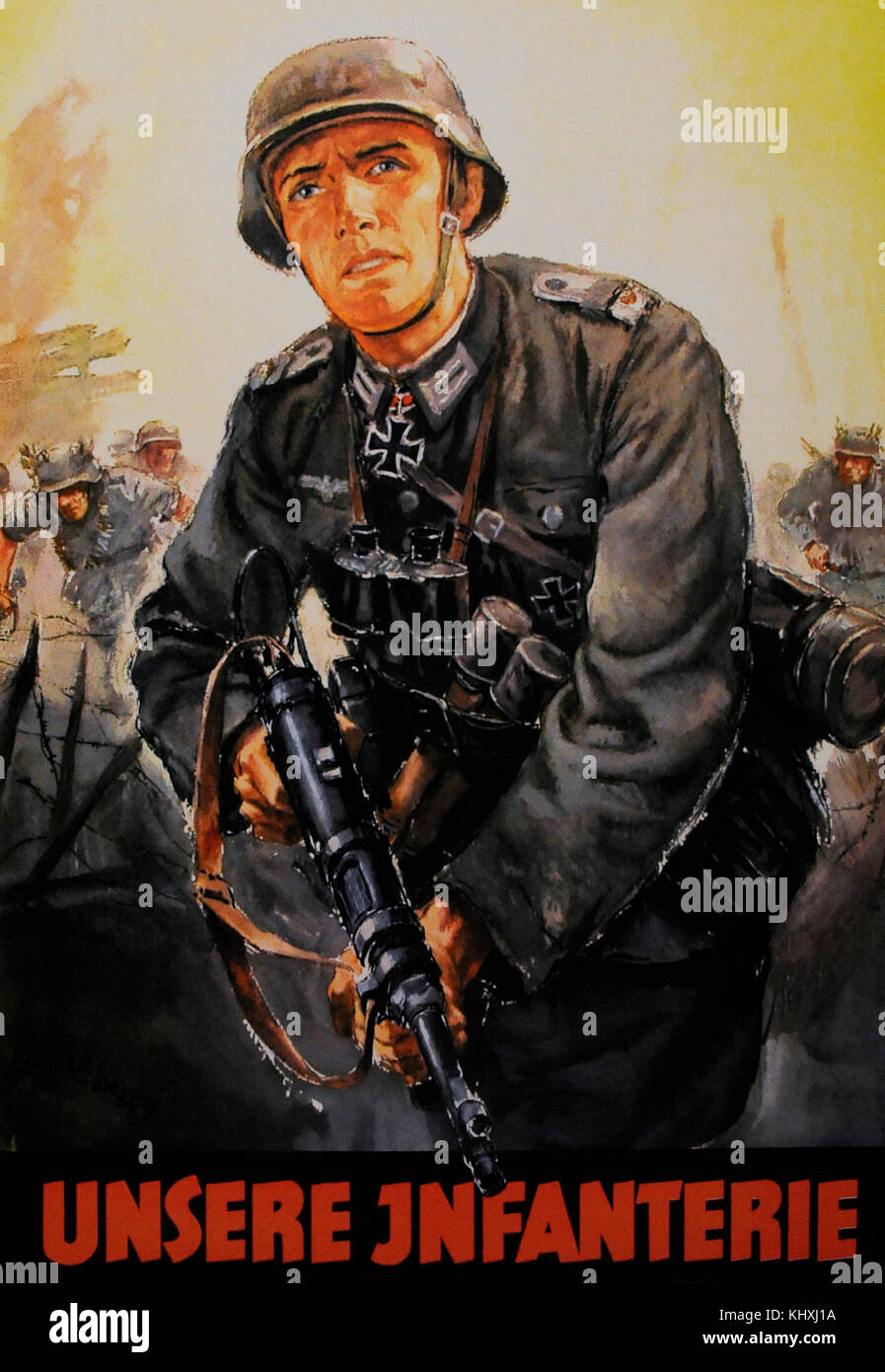 German propaganda poster to encourage young people to do military service in the Wehrmacht army. It was also addressed - Stock Image