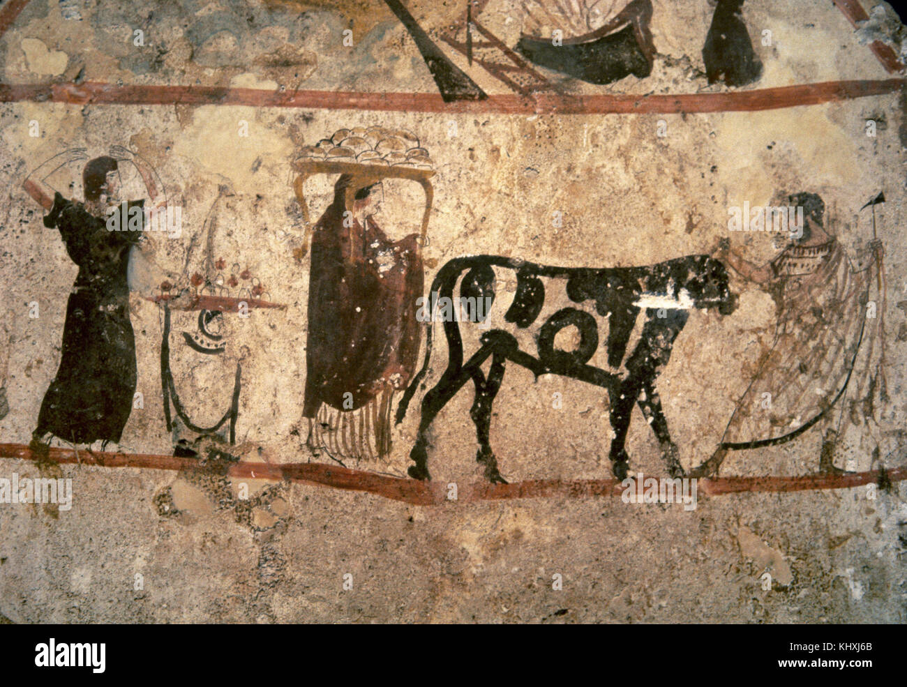 Painted slab from Tomb 47 of Necropolis, Paestum. Circa 350 BC. Preparations for an animal sacrifice. Italy. (Magna - Stock Image