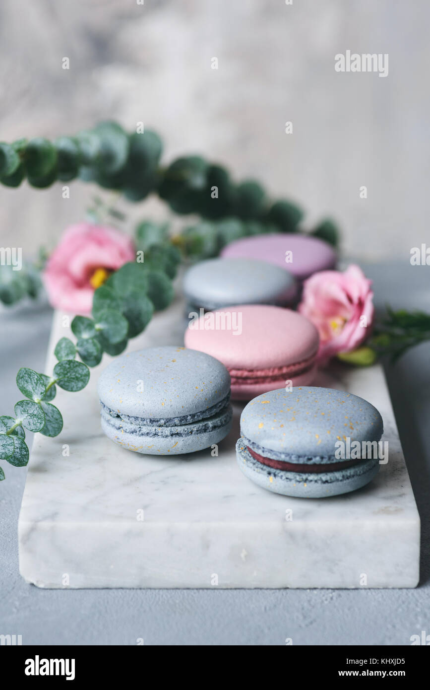 Pastel macarons or macaroon on marble table with pink flowers. French pastry. Selective focus - Stock Image
