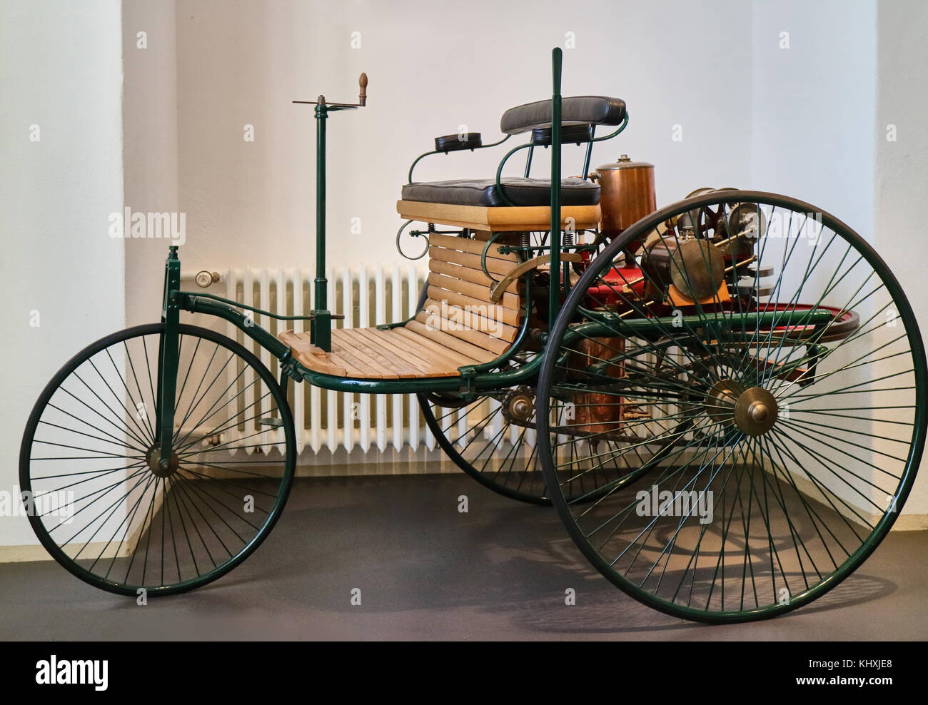 Europe, Germany, Saxony, Dresden city, The Transport museum, First car of Carl Benz, Benz Patent Motorcar 1886 - Stock Image