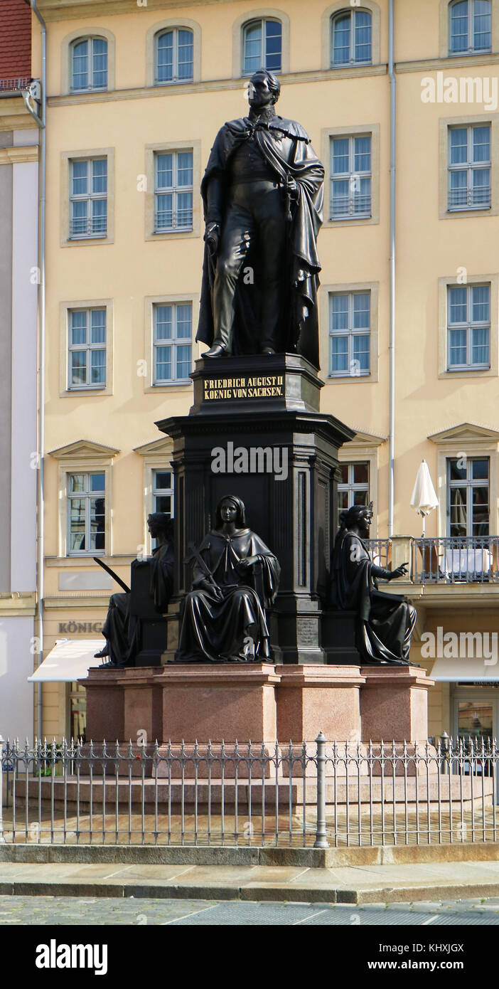 Europe, Germany, Saxony, Dresden, The old Town, the new market square, Friedrich August II Stock Photo