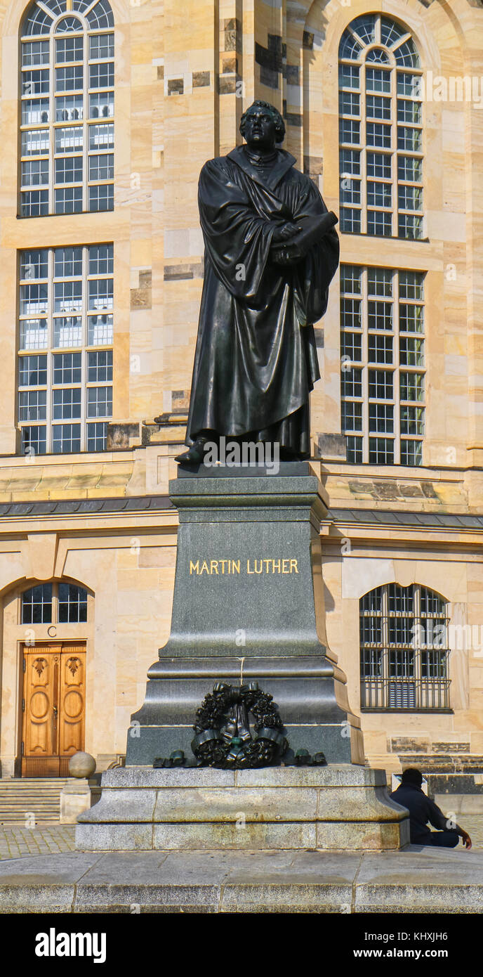 Europe, Germany, Saxony, Dresden, The old Town, the new market square, Statue Of Martin Luther In Front Of Church Stock Photo
