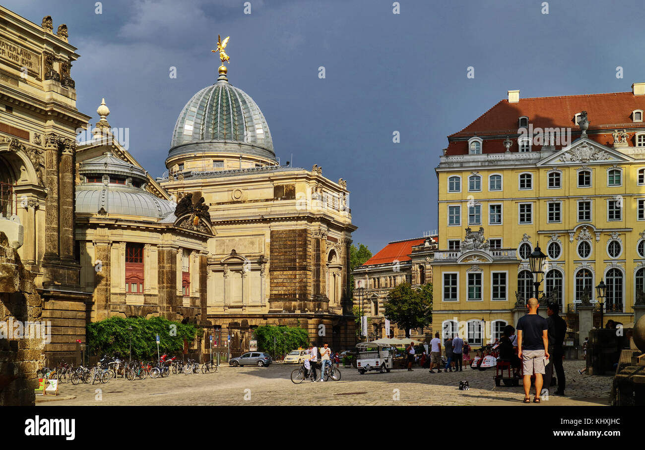 Europe,  Saxony,  The old Town, the new market square, view of the Dresden Academy of Fine Arts glass dome topped - Stock Image