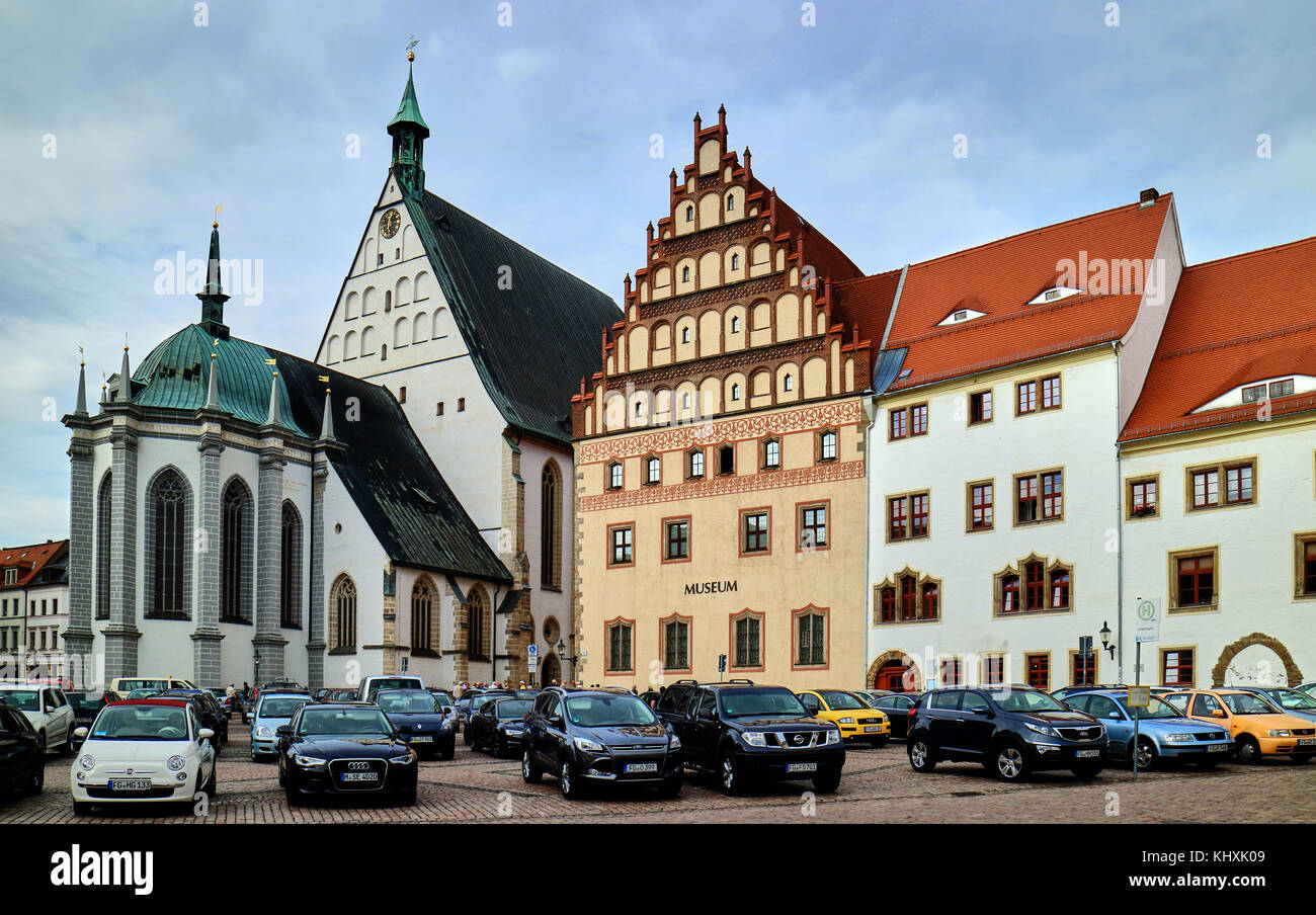 Europe, Germany, Saxony, Freiberg, The Untermarkt square, The cathedral of St Mary and the town museum; This church - Stock Image