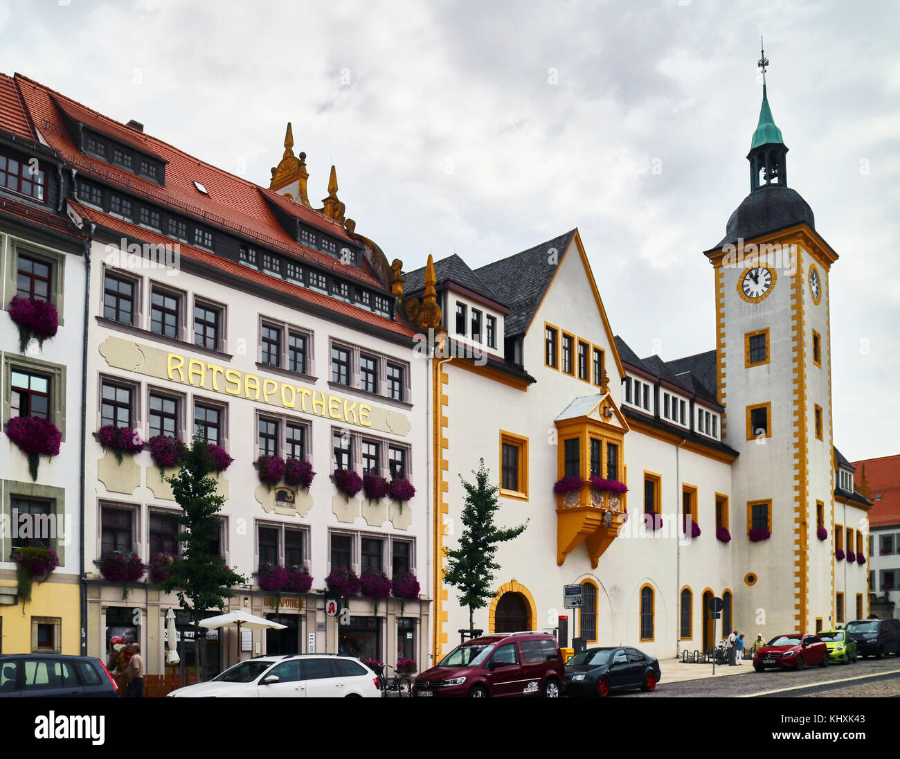 Europe, Germany, Saxony, Freiberg, the old town, the Rathaux, town hall, the Obermarkt square - Stock Image