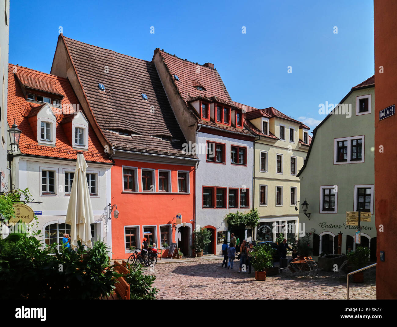 Europe, Germany, Saxony, Meissen, the old town,  This city was founded by Henry I of Saxony in 922 on a rock overlooking - Stock Image