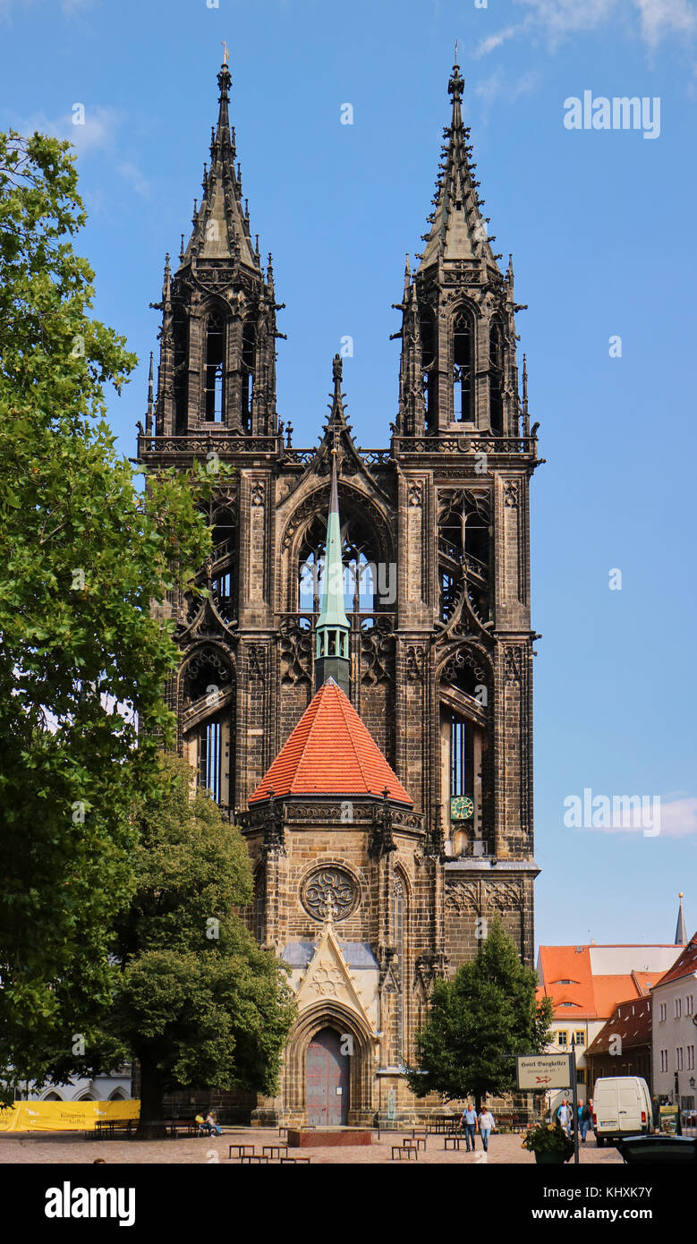 Europe, Germany, Saxony, Meissen,the Cathedral  is also known as the Church of St John and St Donatus. The church - Stock Image