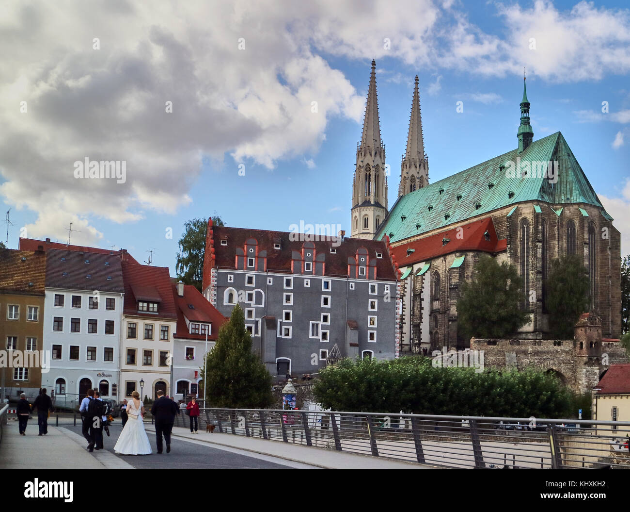 Europe, Germany, Saxony, Görlitz, The old town, , The 15th century st. Peter and Paul's, Protestant, church - Stock Image