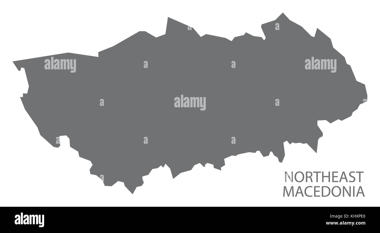 Northeast Macedonia map of Macedonia grey illustration silhouette shape - Stock Vector