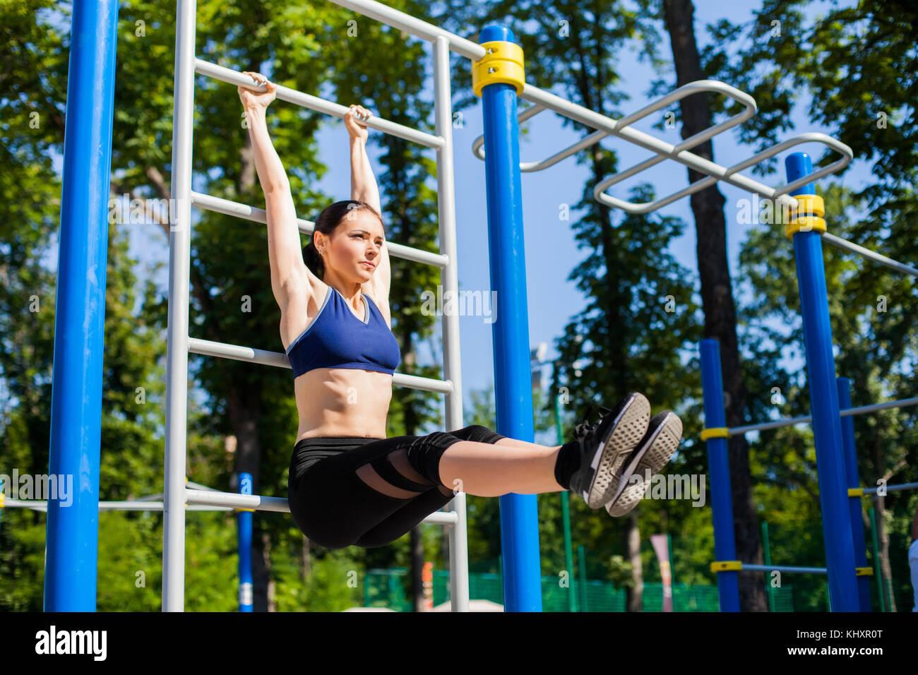 athletic female on sport playground Stock Photo