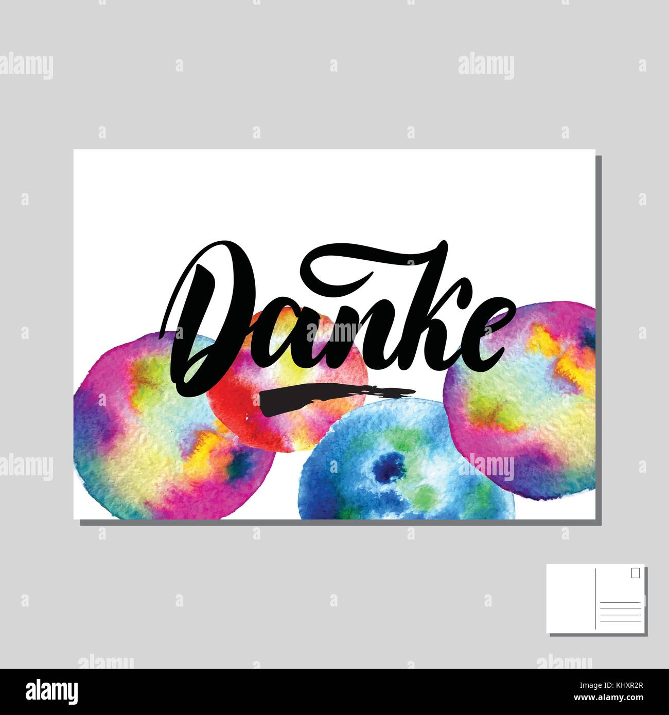 Danke, Thank you in German hand drawn lettering post card with abstract circle colorful background. Vector lettering Stock Vector
