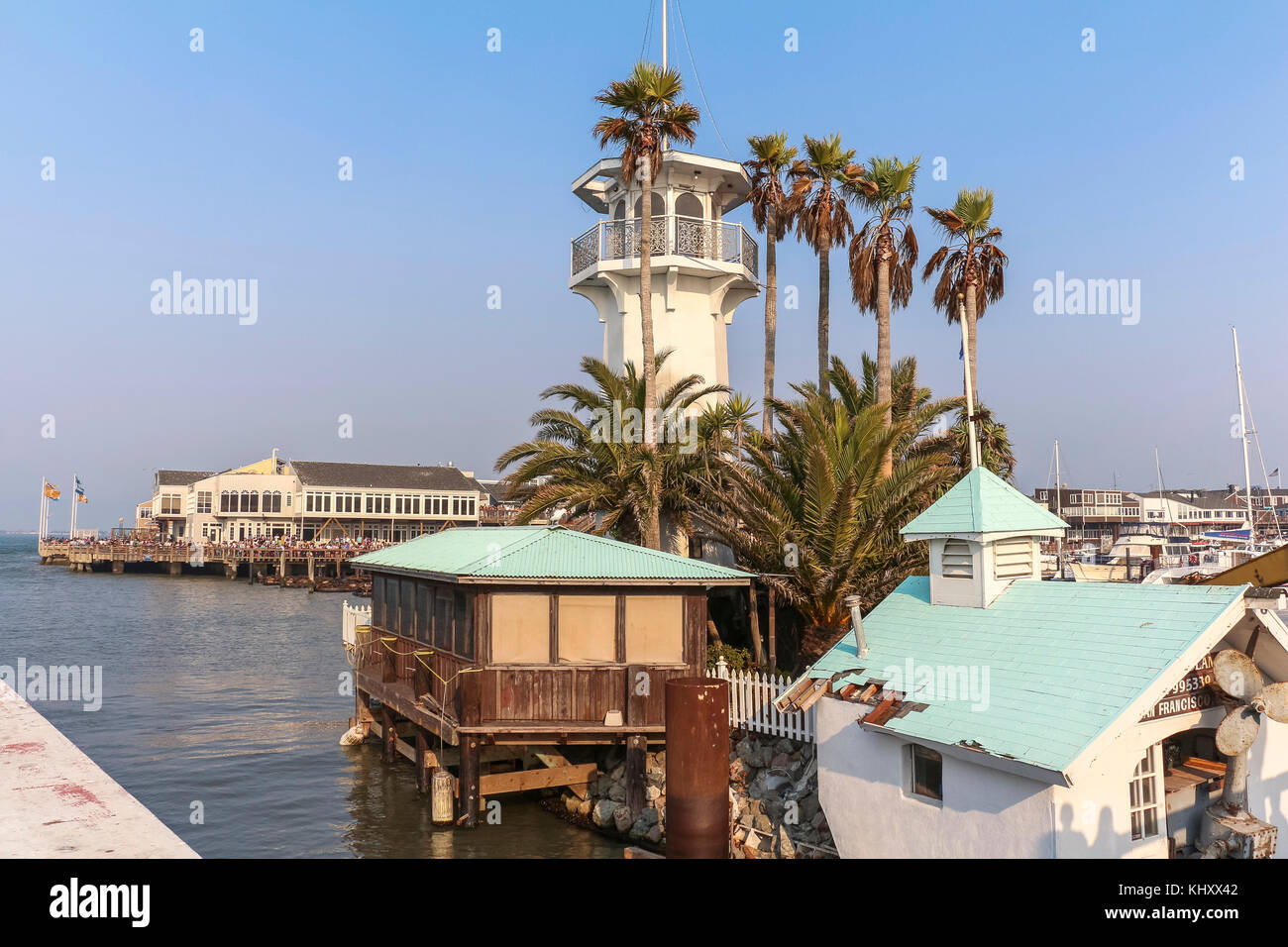 Pier 39 lighthouse view in San Francisco daytime - Stock Image