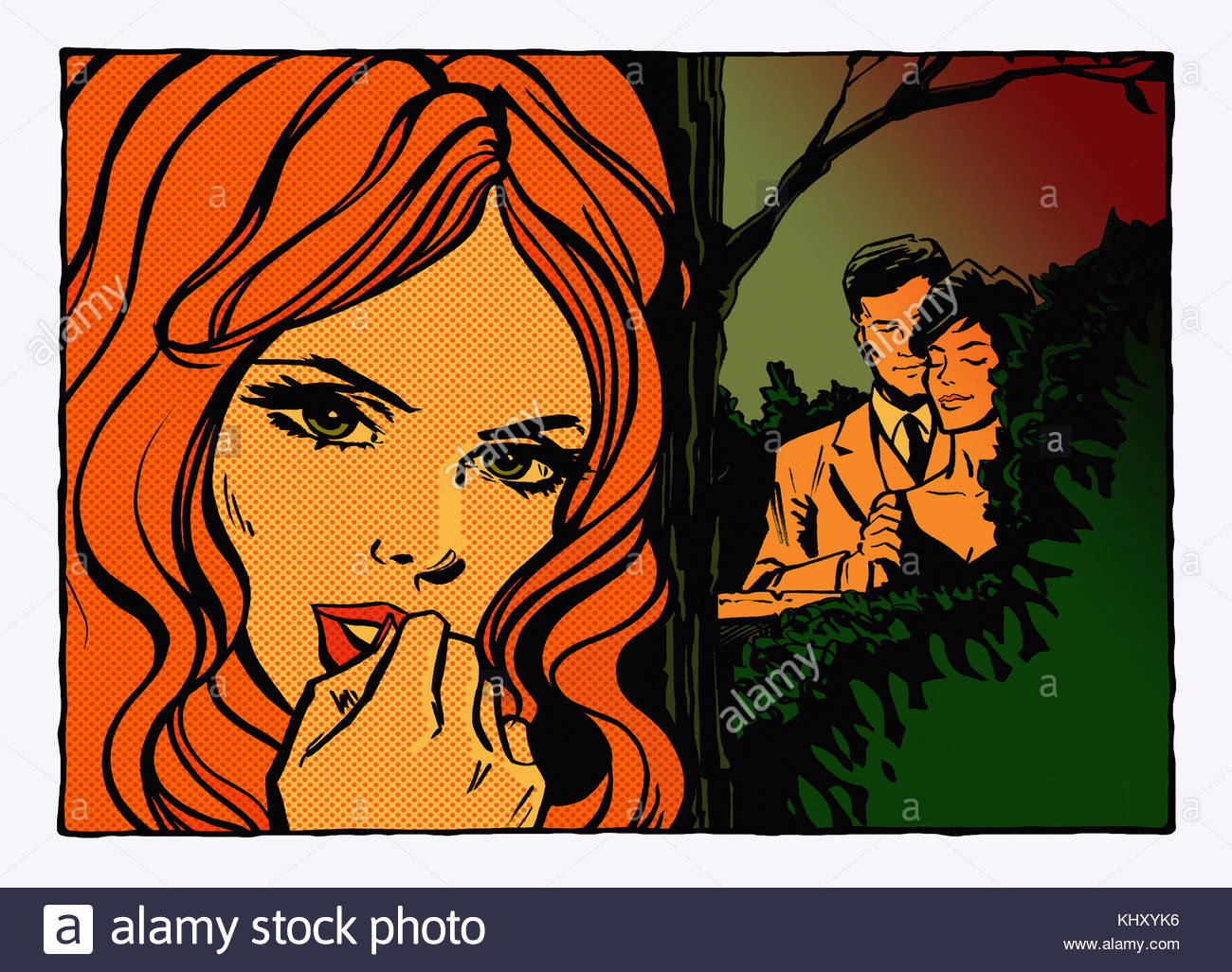 Girlfriend discovering unfaithful boyfriend with another woman - Stock Image