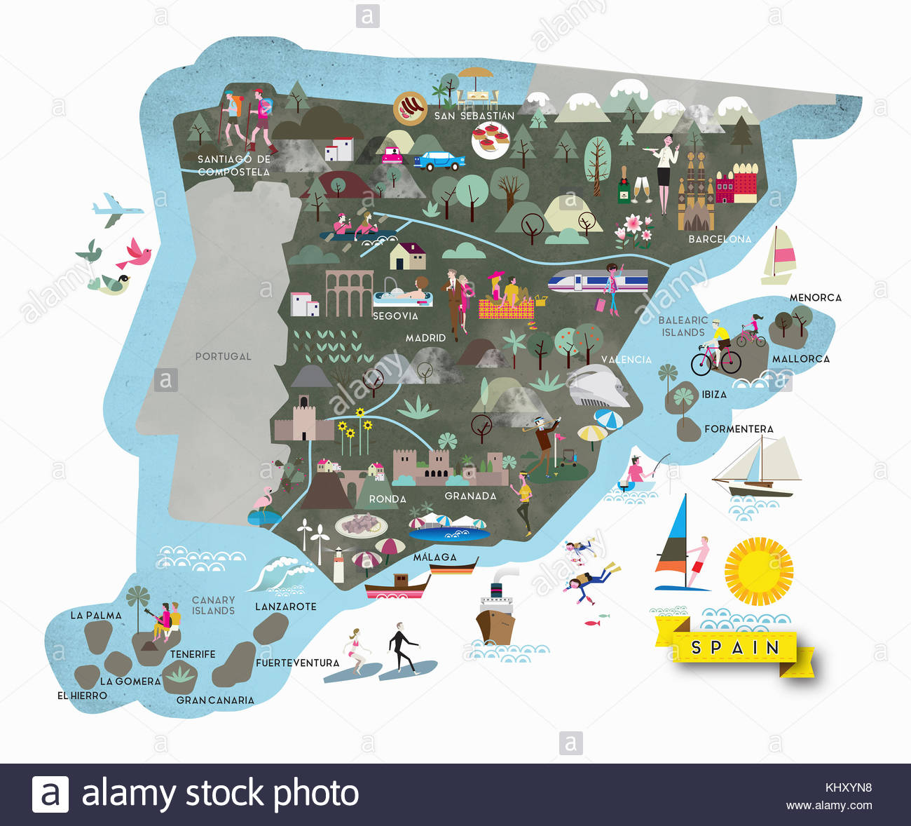 Illustrated tourism map of leisure activities in Spain Stock Photo