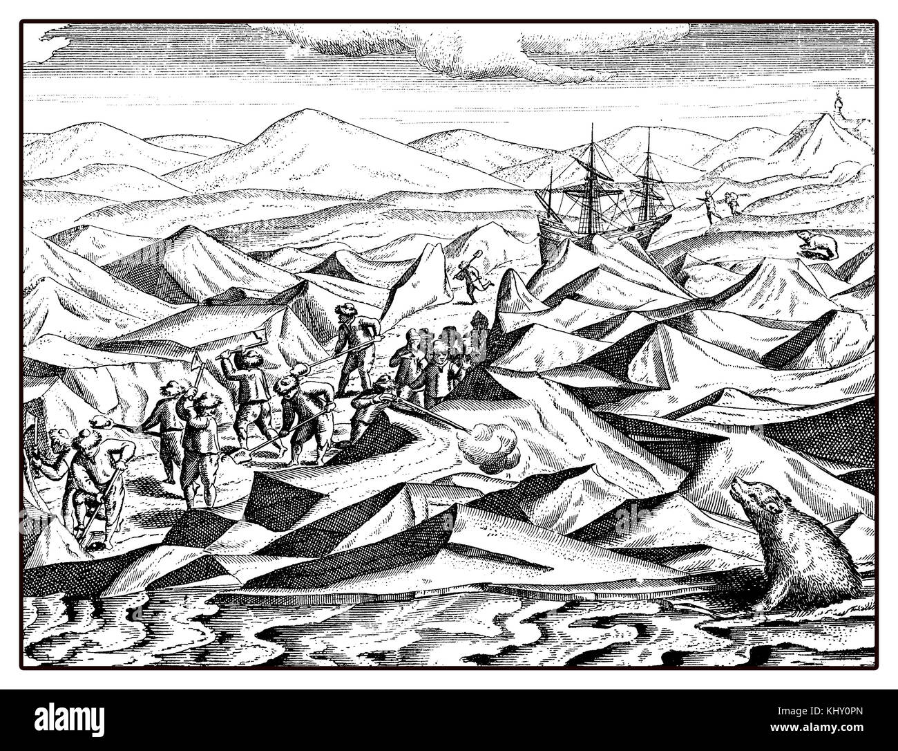 William Barents expedition to Artic to find a Nordheast passage in the XVI century Stock Photo
