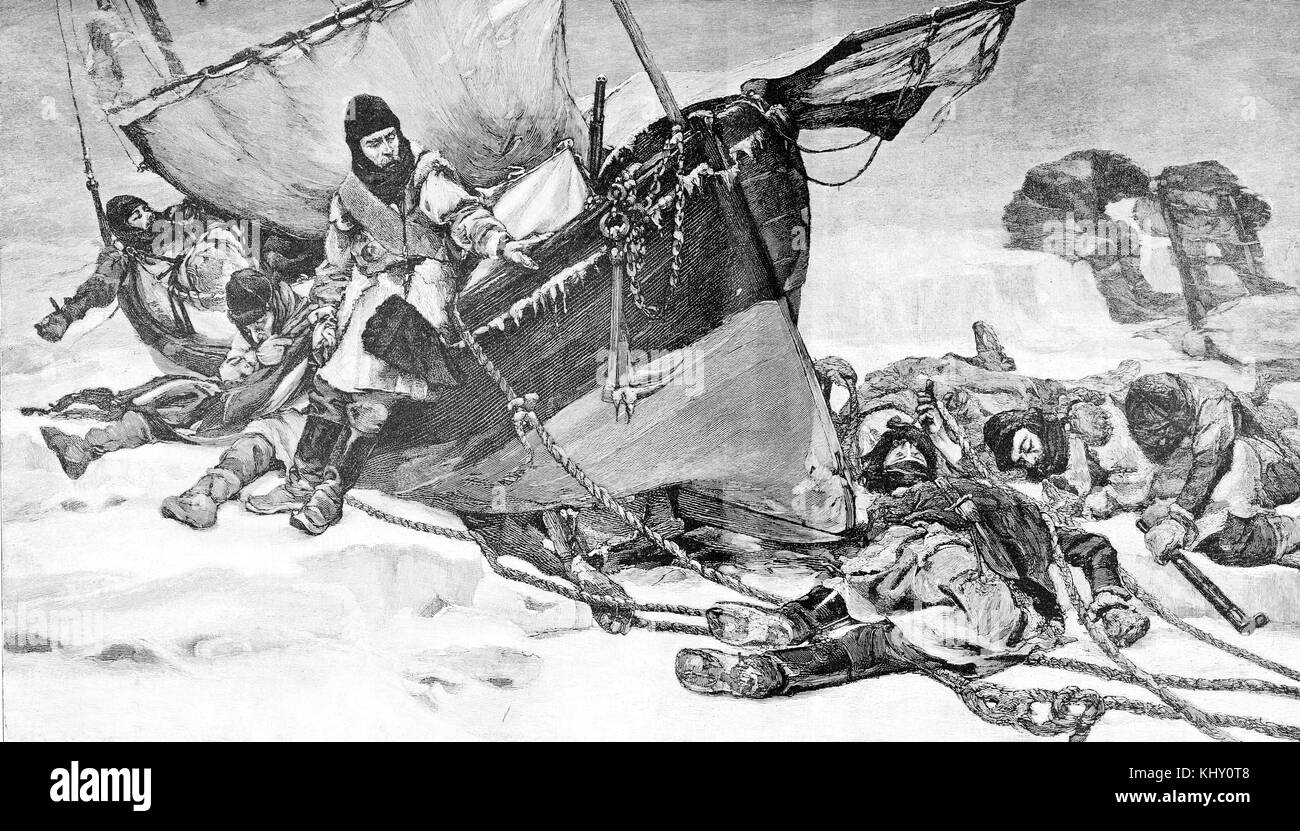 End of Sir Franklin lost expedition to the Canadian Artic in search of the Northwest sea passage, year 1847 - Stock Image