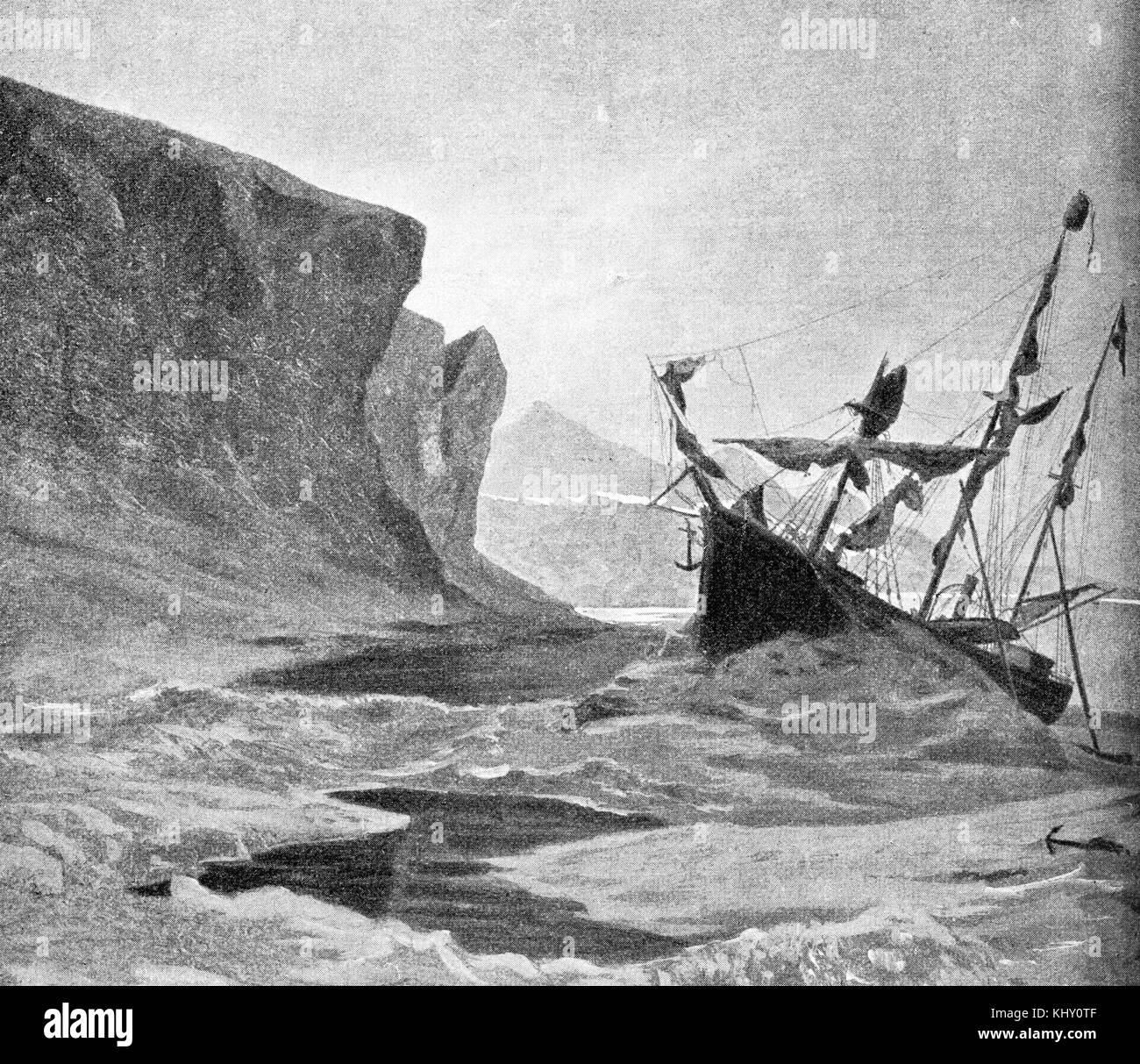 Vintage engraving of Austro-Hungarian North Pole expedition: the three-masted schooner Tegetthoff trapped in ice - Stock Image