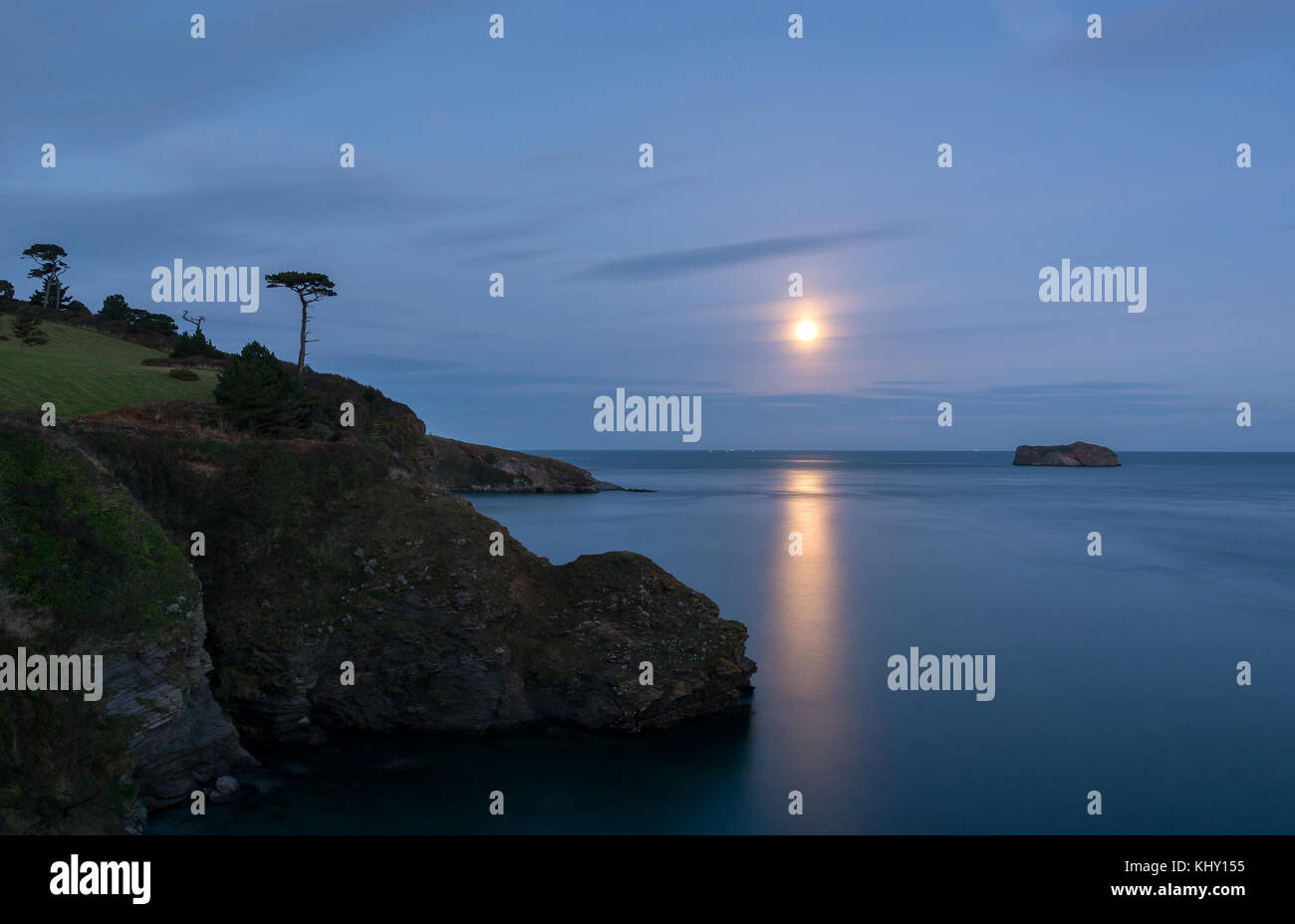 Ore Stone, Torquay By Moonlight - Stock Image