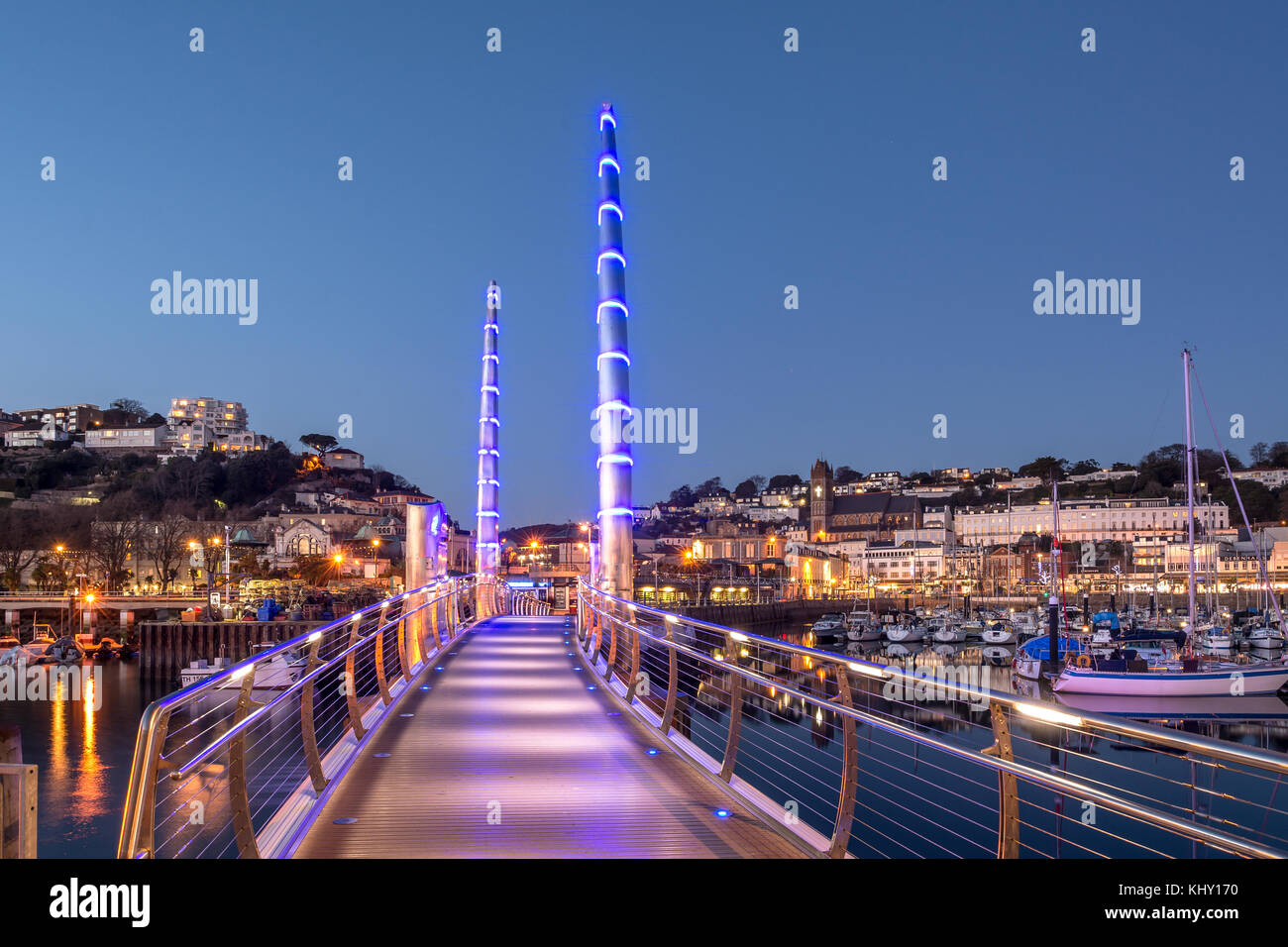 Torquay Harbour Bridge By Night - Stock Image