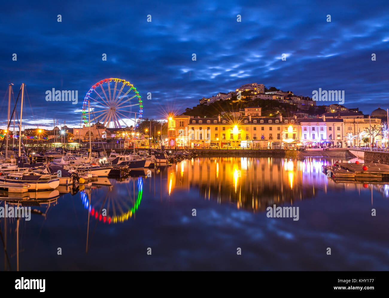 Torquay Harbour taken at twilight on a warm May evening. - Stock Image