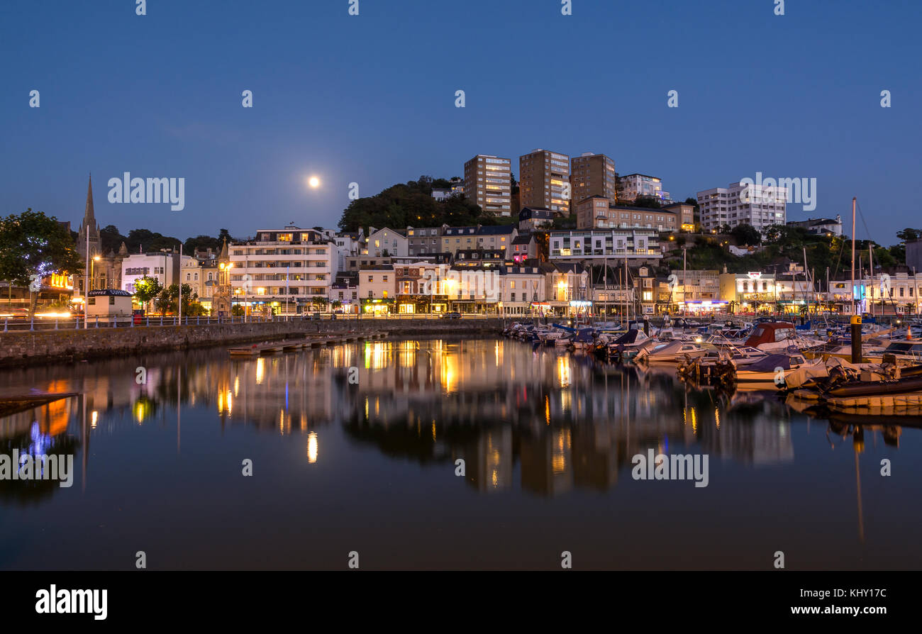 Torquay Harbour By Moonlight - Stock Image